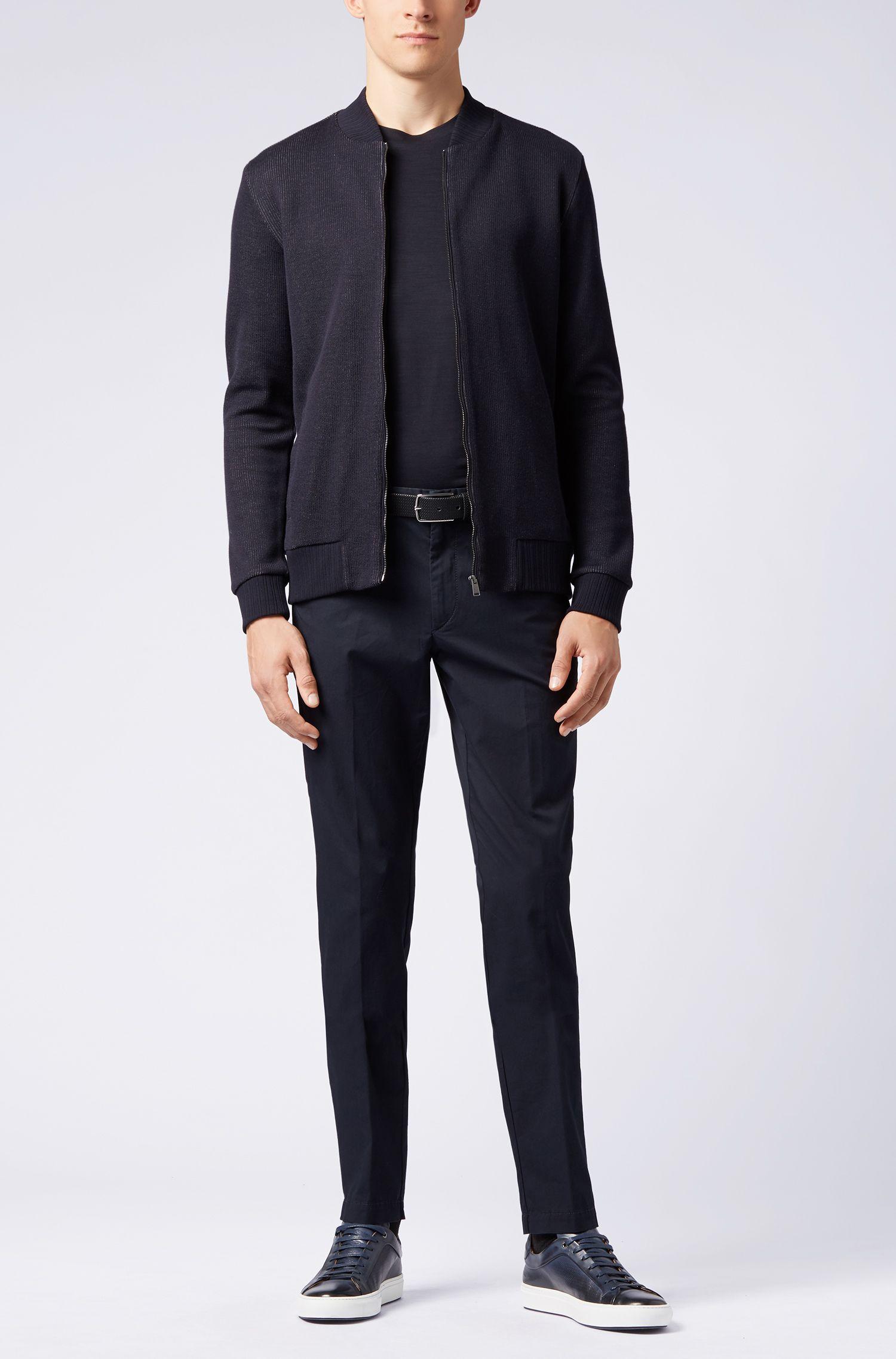 Blouson-style zipped sweatshirt in double-faced cotton jersey