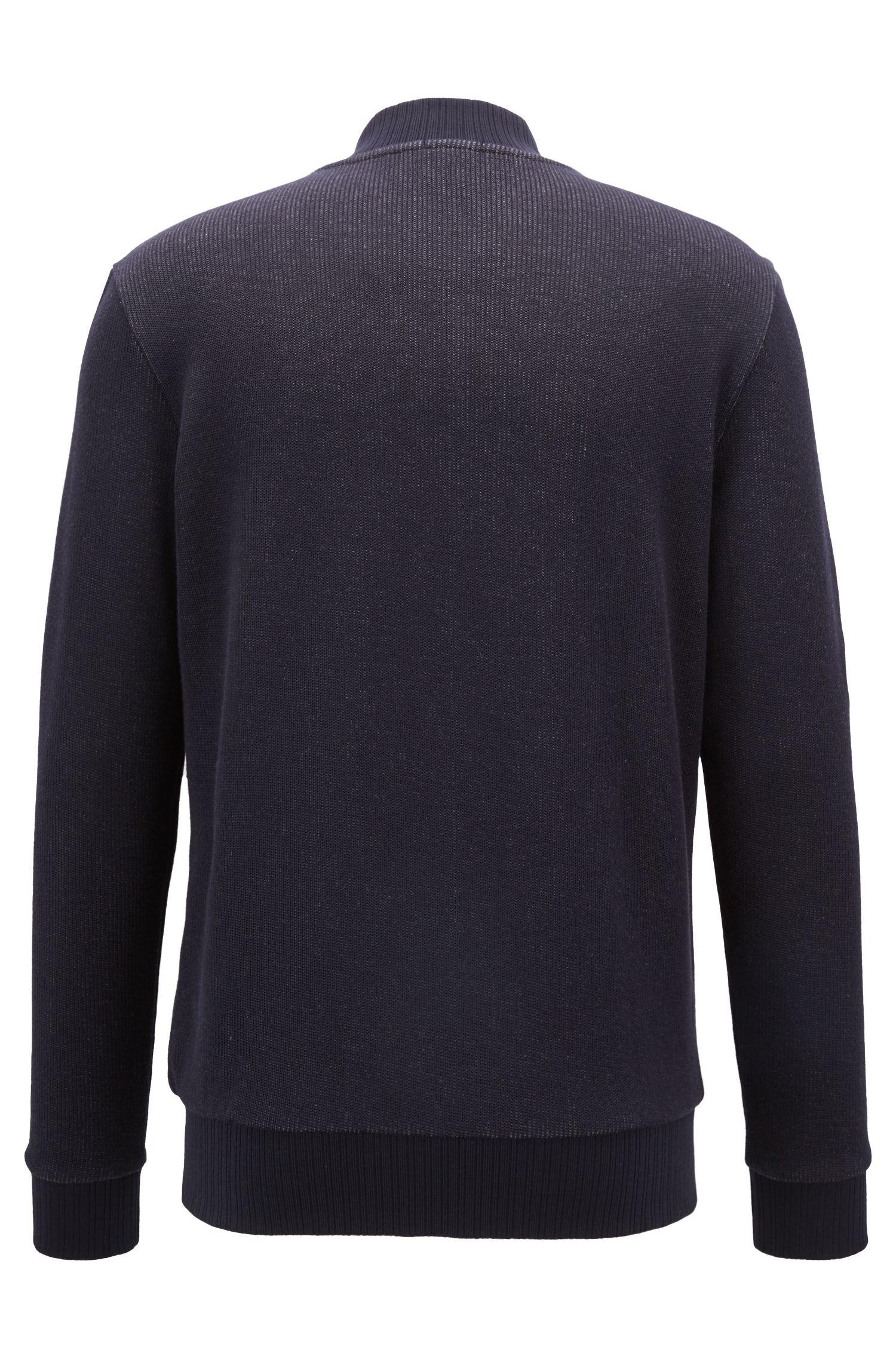 Sweat zippé style blouson en jersey de coton double face, Bleu