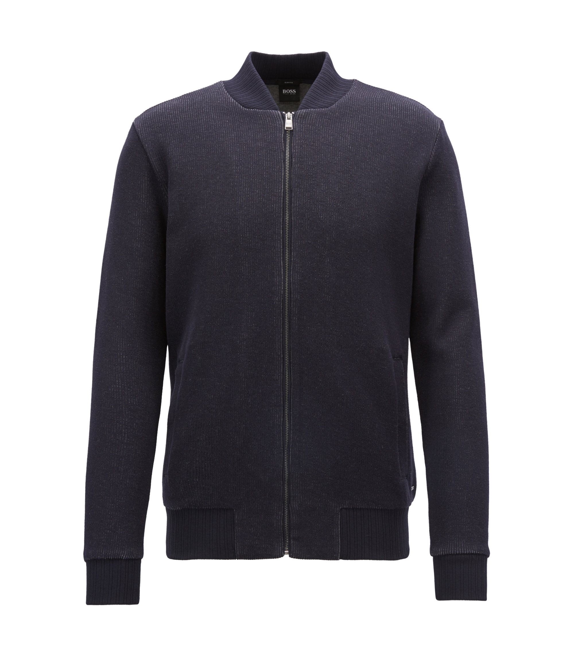 Blouson-style zipped sweatshirt in double-faced cotton jersey, Blue