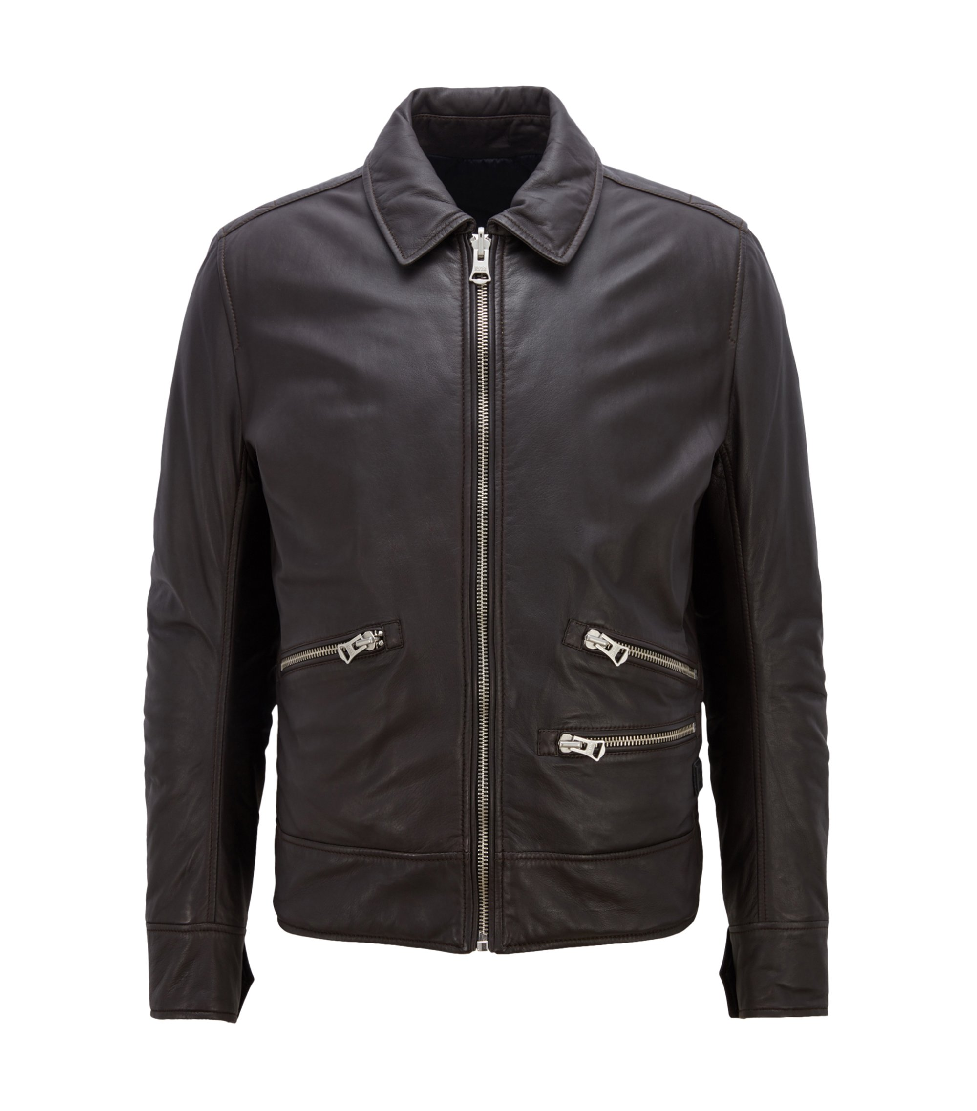 Slim-fit leather jacket with reversible construction, Dark Brown