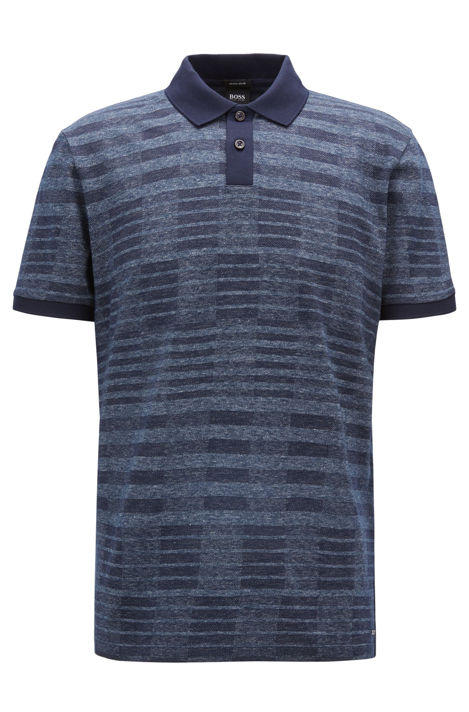 Denim-look polo shirt with Bauhaus-inspired pattern, Blue