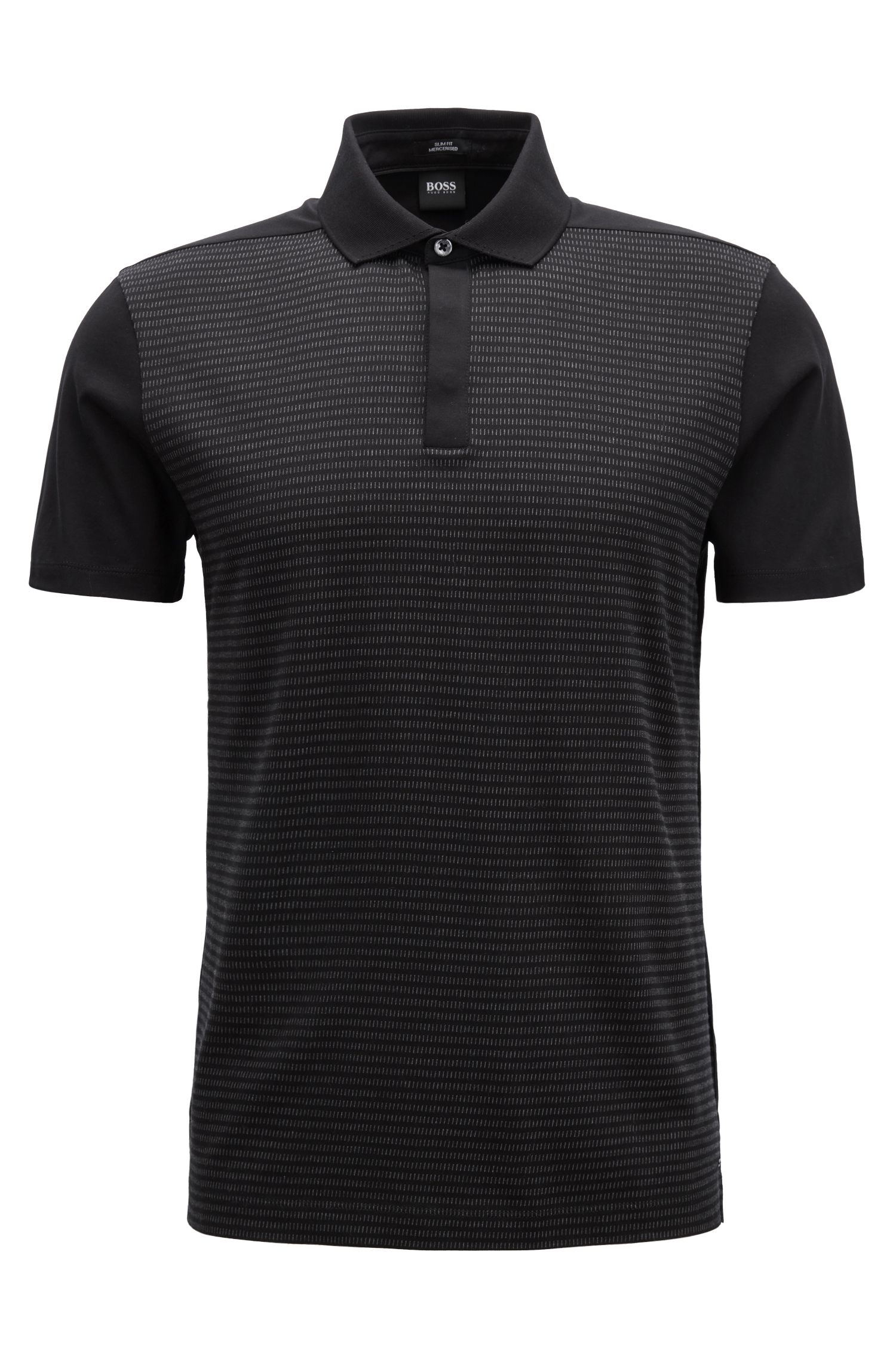 Slim-fit polo shirt in mercerised-cotton jacquard, Black