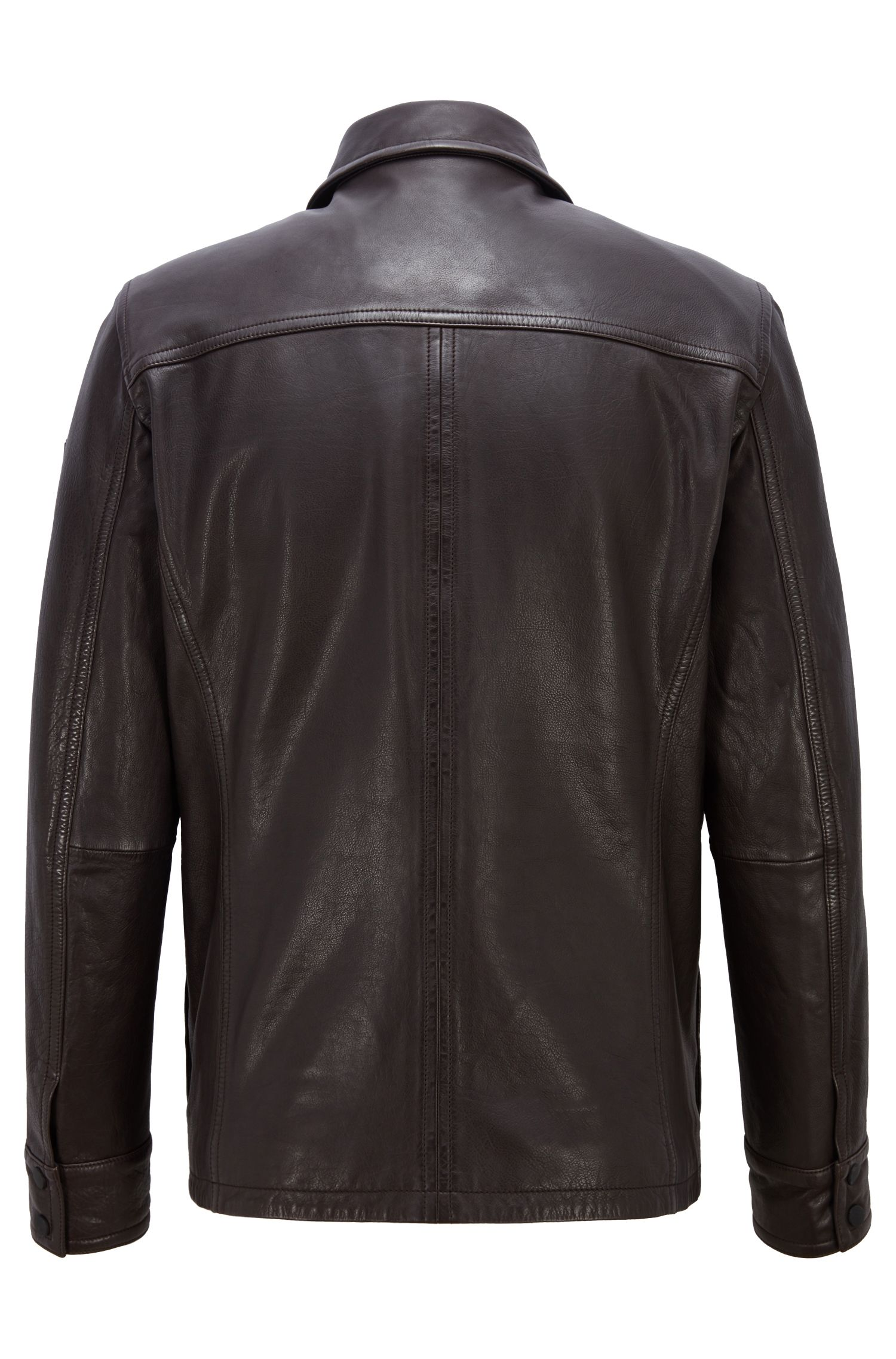 Slim-fit field jacket in oiled calf leather, Dark Brown