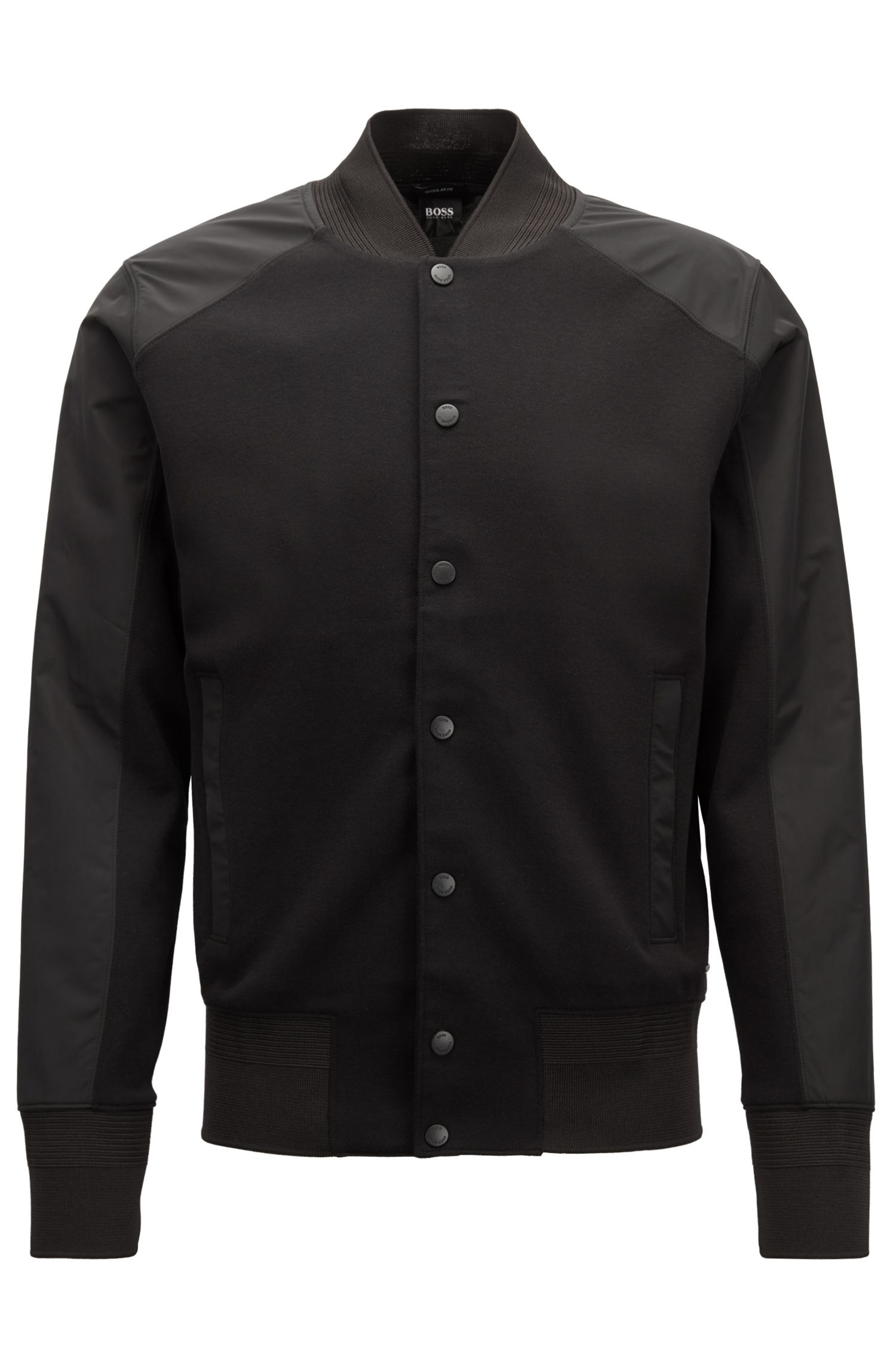 Varsity-style jacket with press-stud front closure, Black