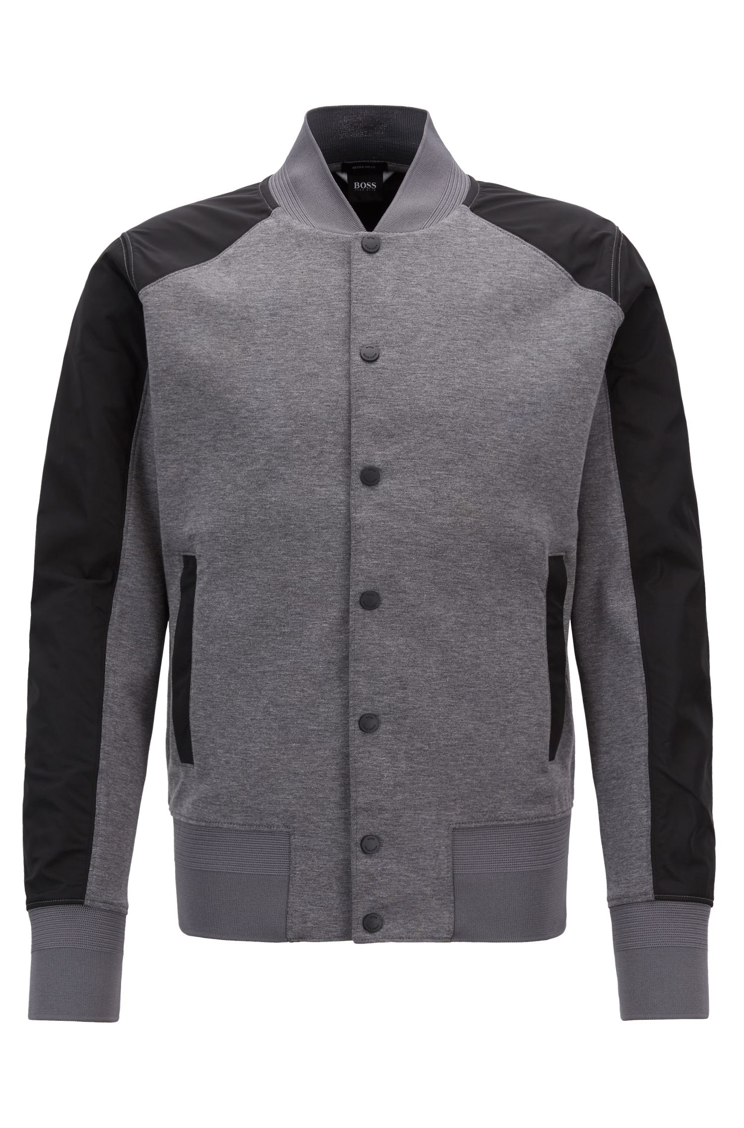 Varsity-style jacket with press-stud front closure, Grey