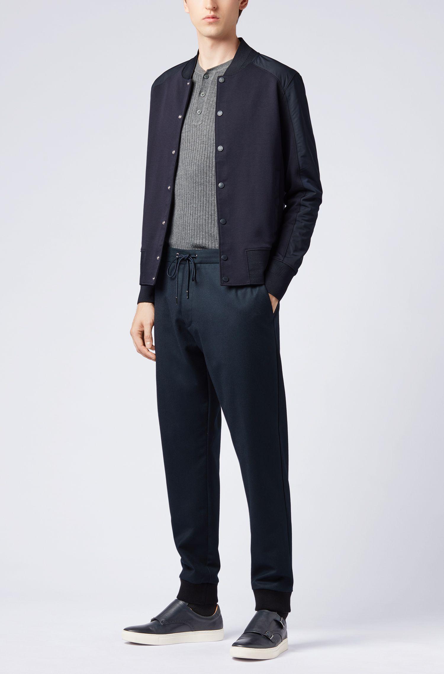 College-Jacke aus Baumwoll-Mix mit Druckknöpfen, Dunkelblau