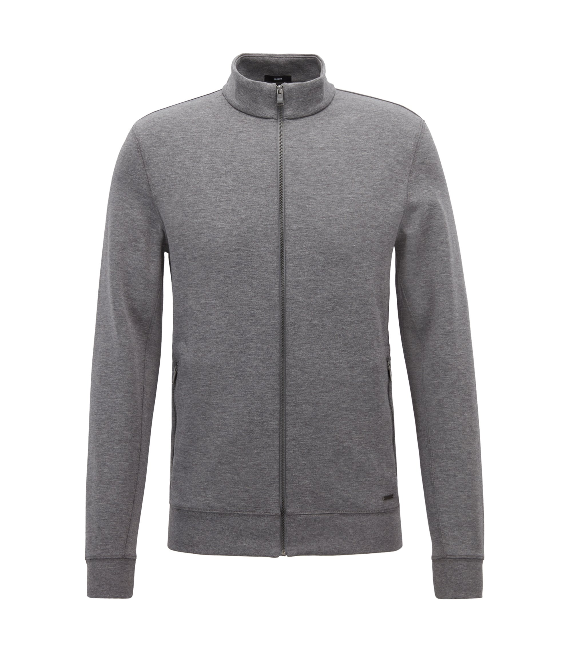 Zip-through sweatshirt in a double-faced cotton blend, Grey