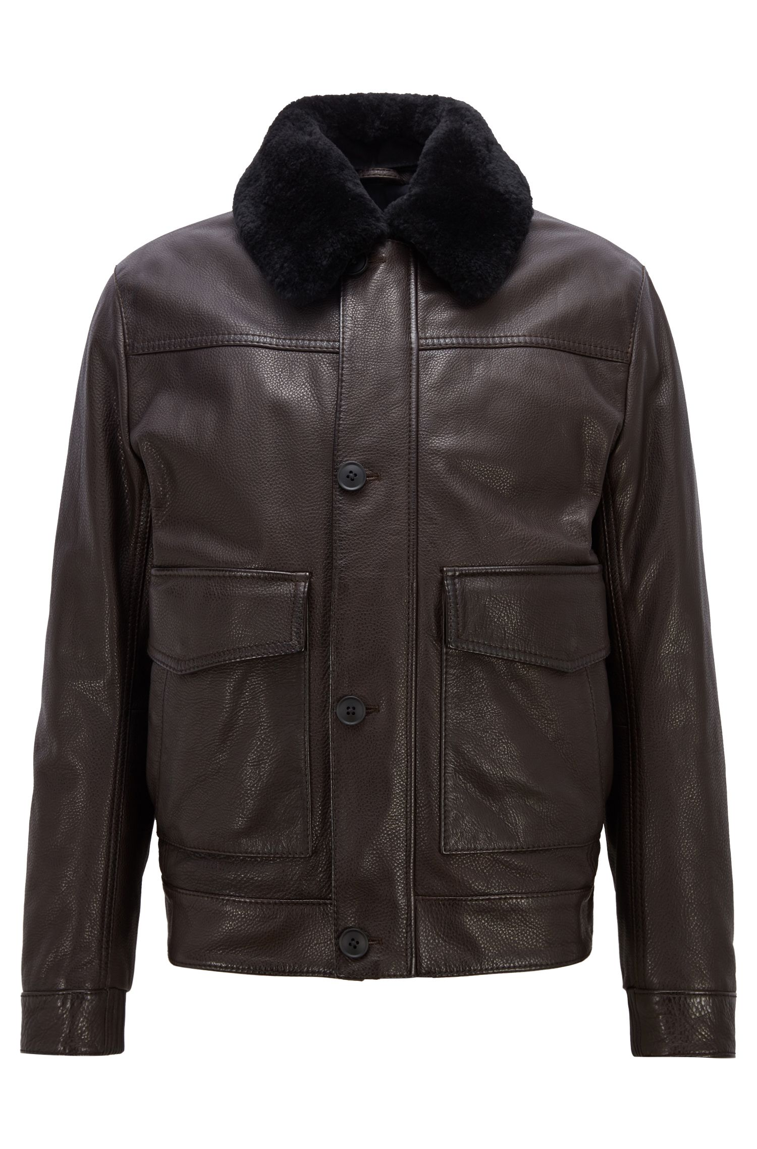 Giubbotto stile aviatore slim fit in pelle zigrinata con colletto in shearling, Marrone scuro