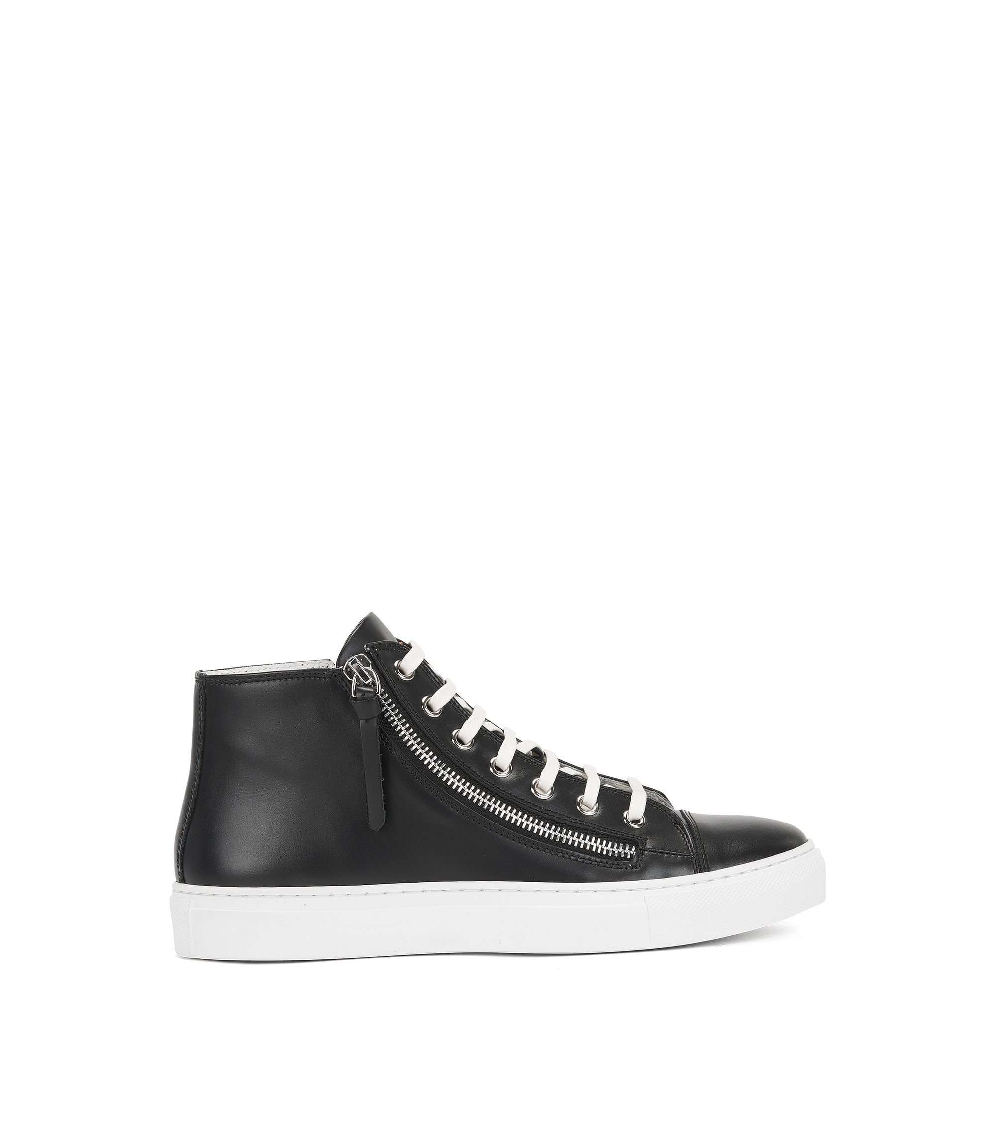 Sneakers high-top con zip in pelle realizzata in Italia, Nero