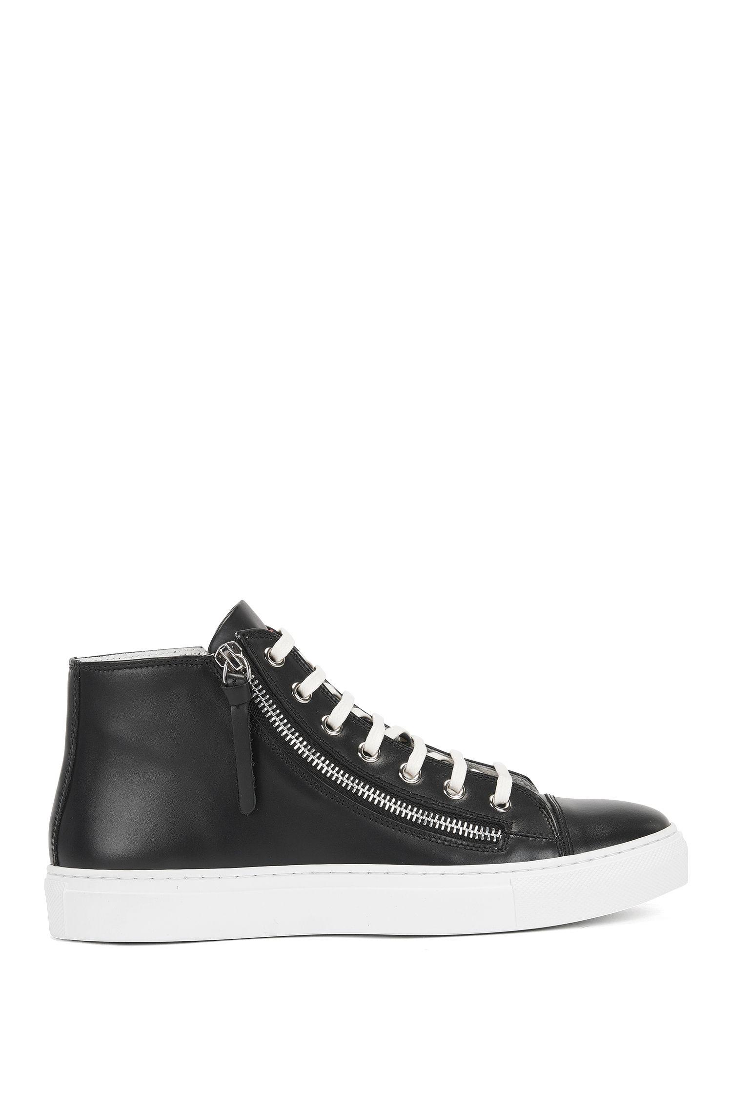 Hightop Sneakers aus italienischem Leder mit Reißverschluss, Schwarz