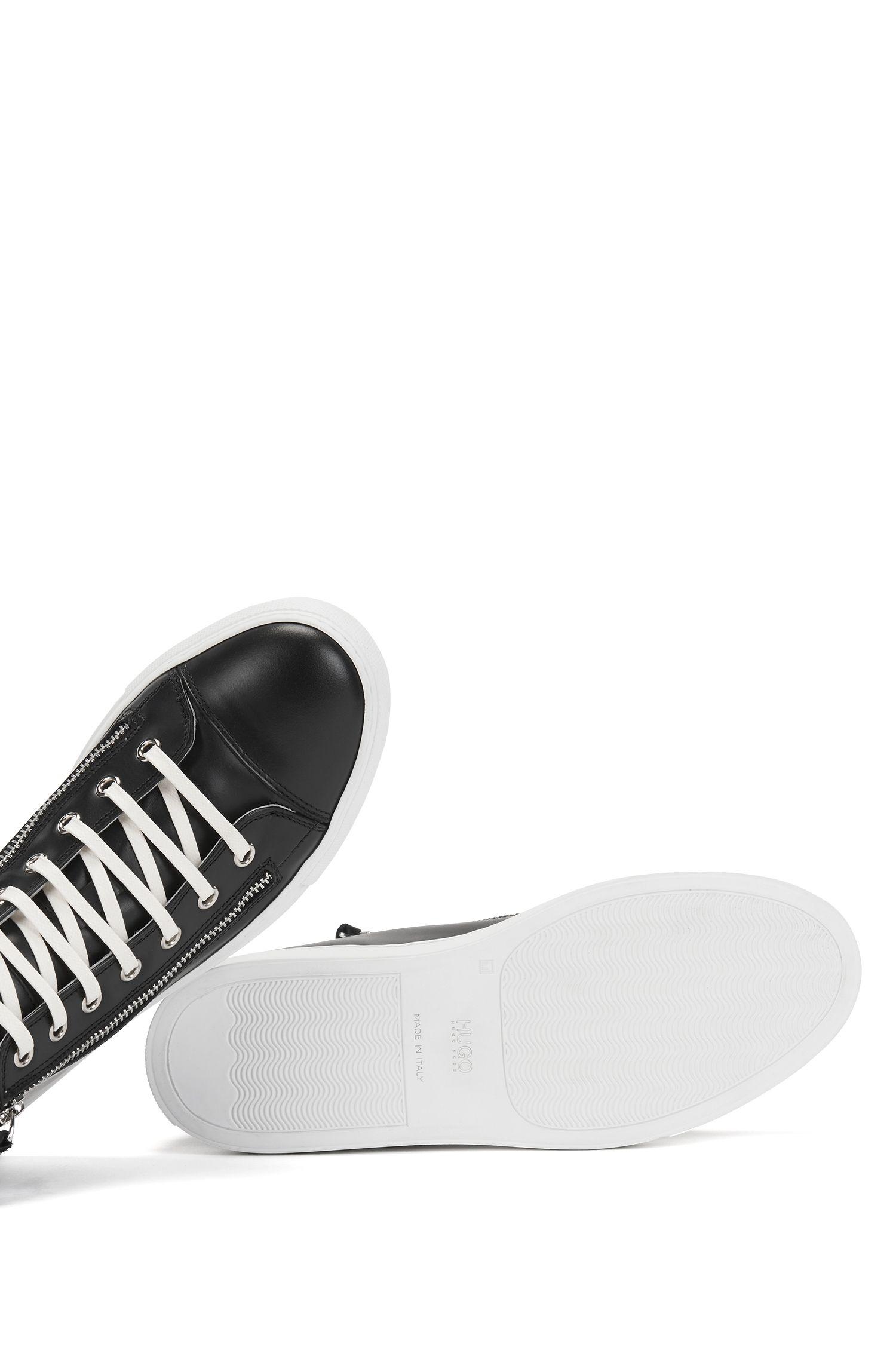 Hoge sneakers van Italiaans leer, met ritsdetail, Zwart