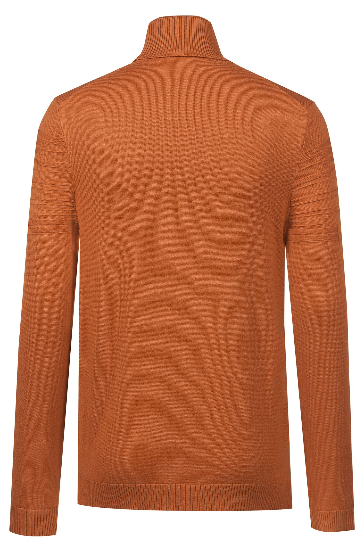 Slim-fit turtleneck sweater in a wool-cotton blend, Brown
