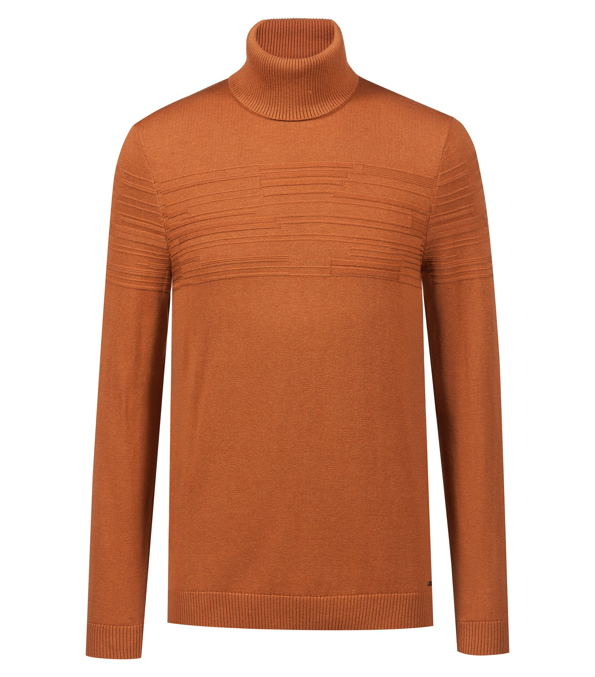 Maglione slim fit con colletto a tartaruga in misto cotone-lana, Marrone
