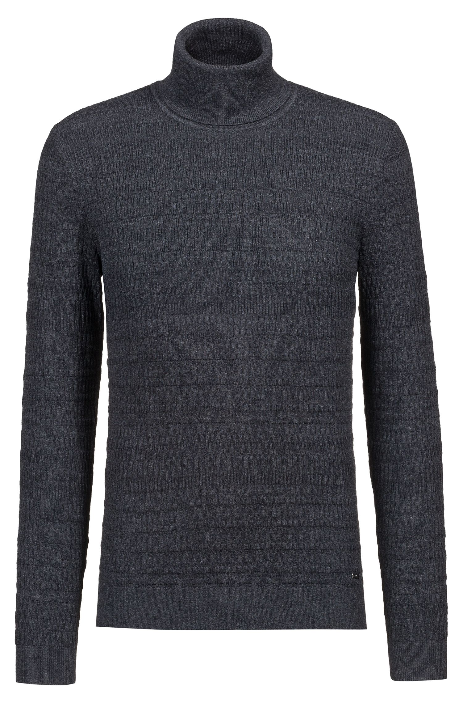Extra-slim-fit turtleneck sweater in wool and cotton, Anthracite
