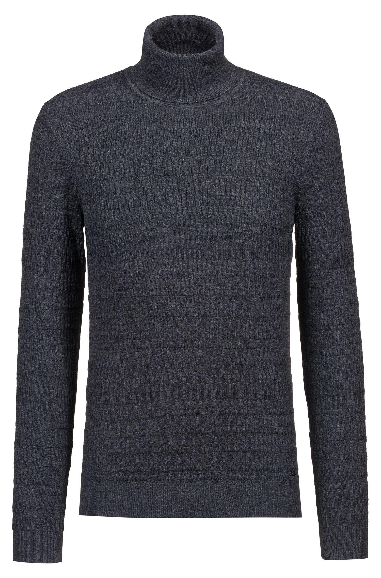 Maglione extra slim fit con colletto a tartaruga in misto cotone e lana, Grigio antracite