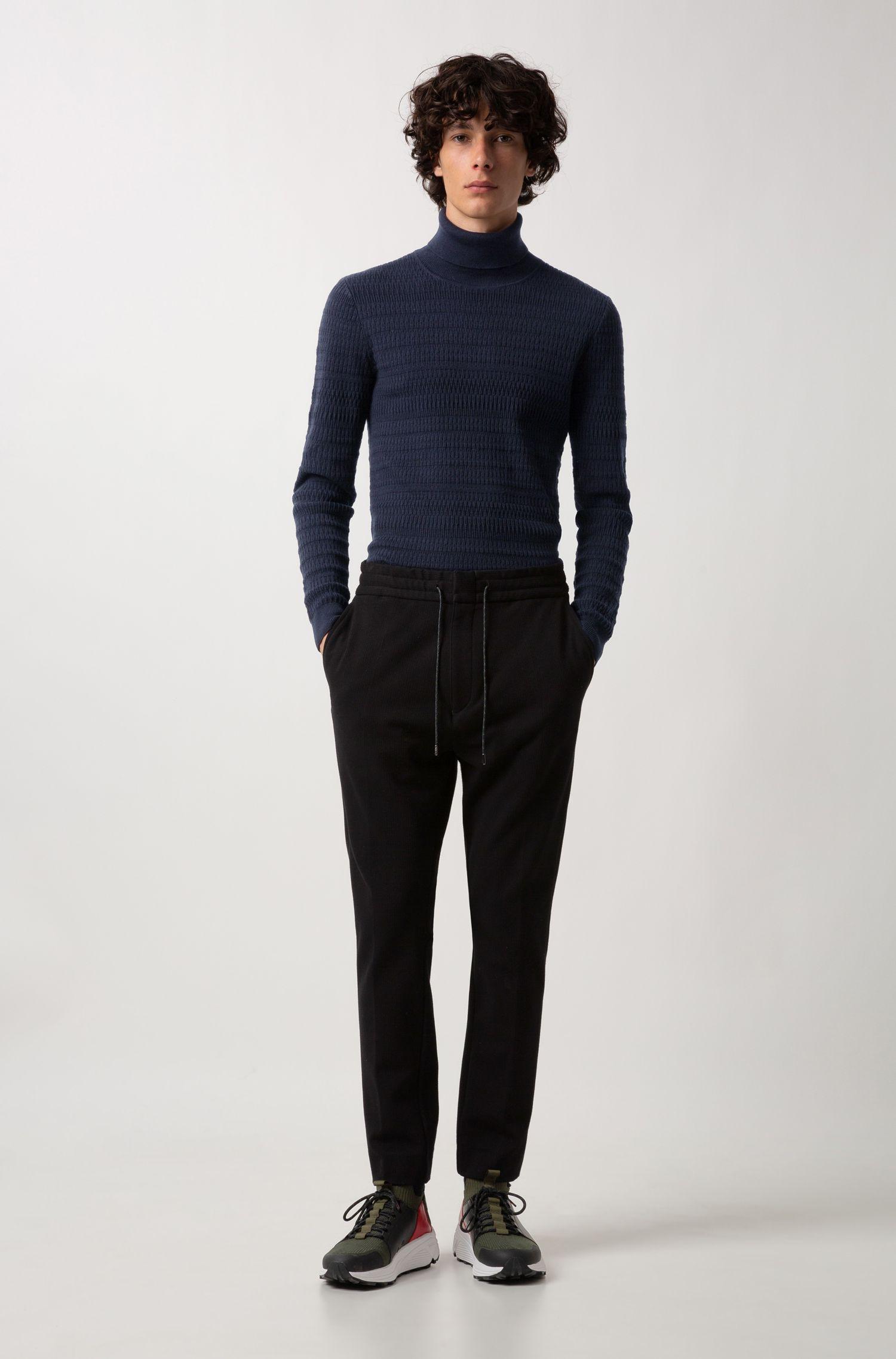 Extra-slim-fit coltrui in een mix van wol en katoen, Donkerblauw