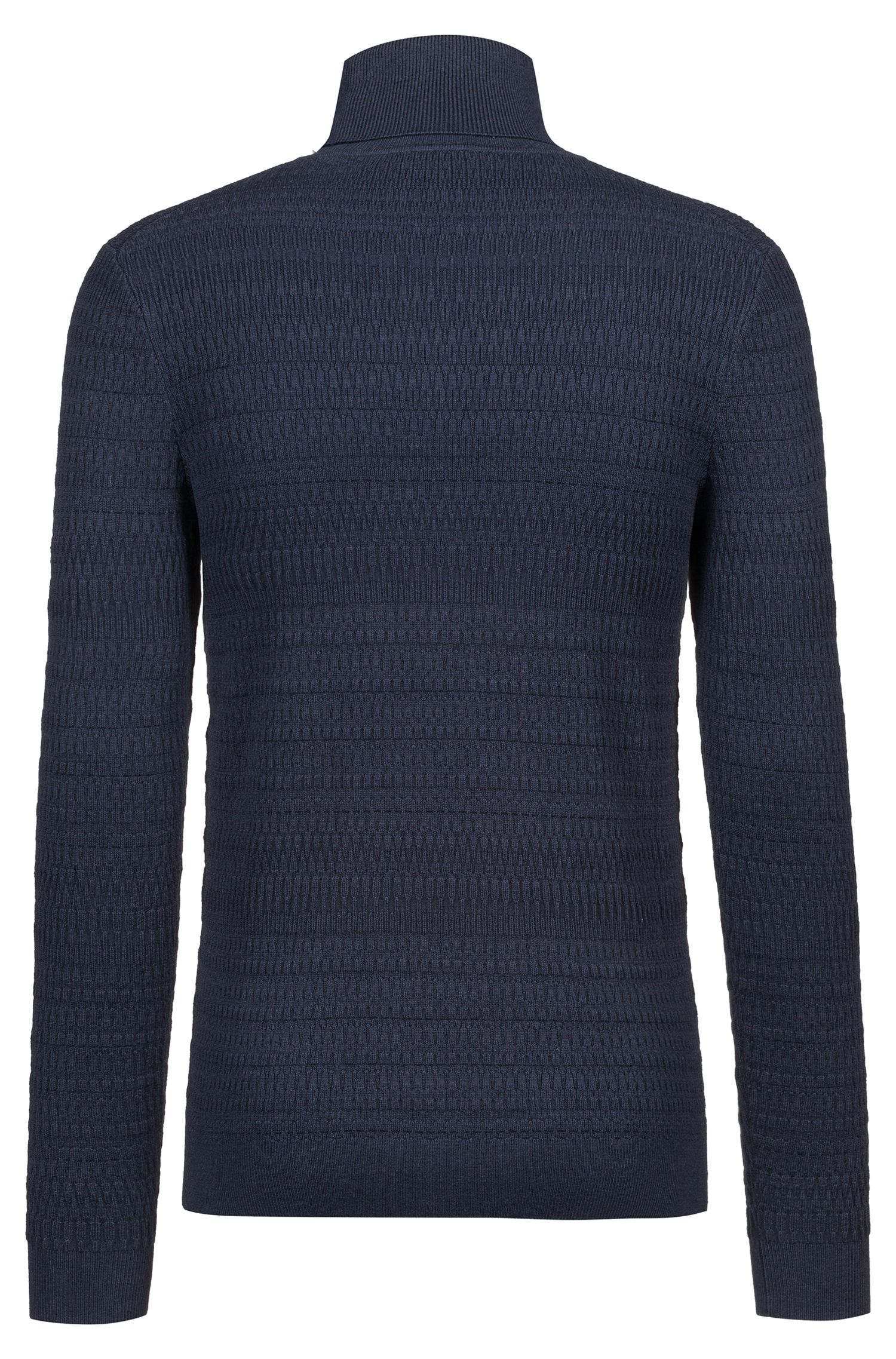 Extra-slim-fit turtleneck sweater in wool and cotton, Dunkelblau