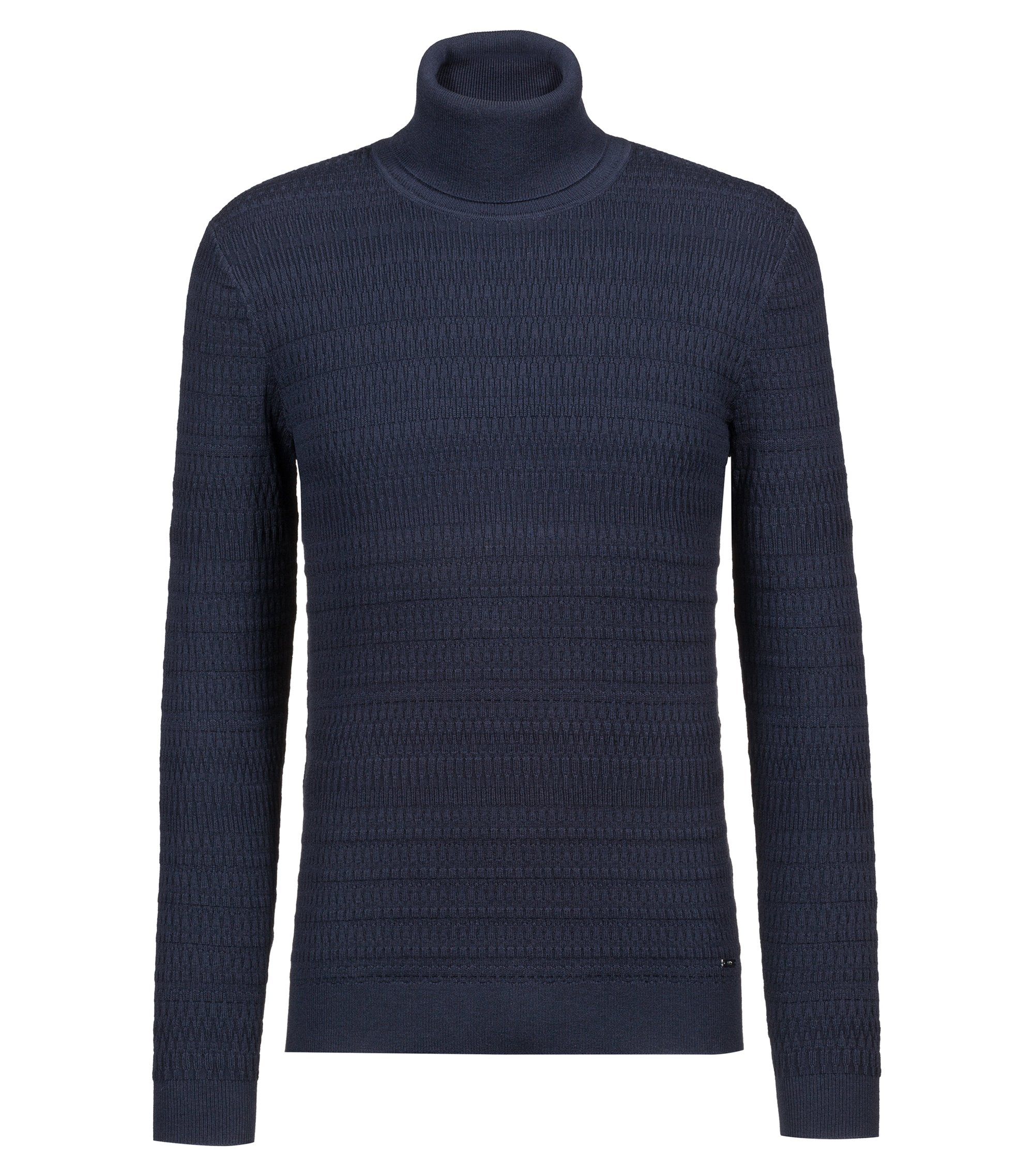 Extra-slim-fit turtleneck sweater in wool and cotton, Dark Blue