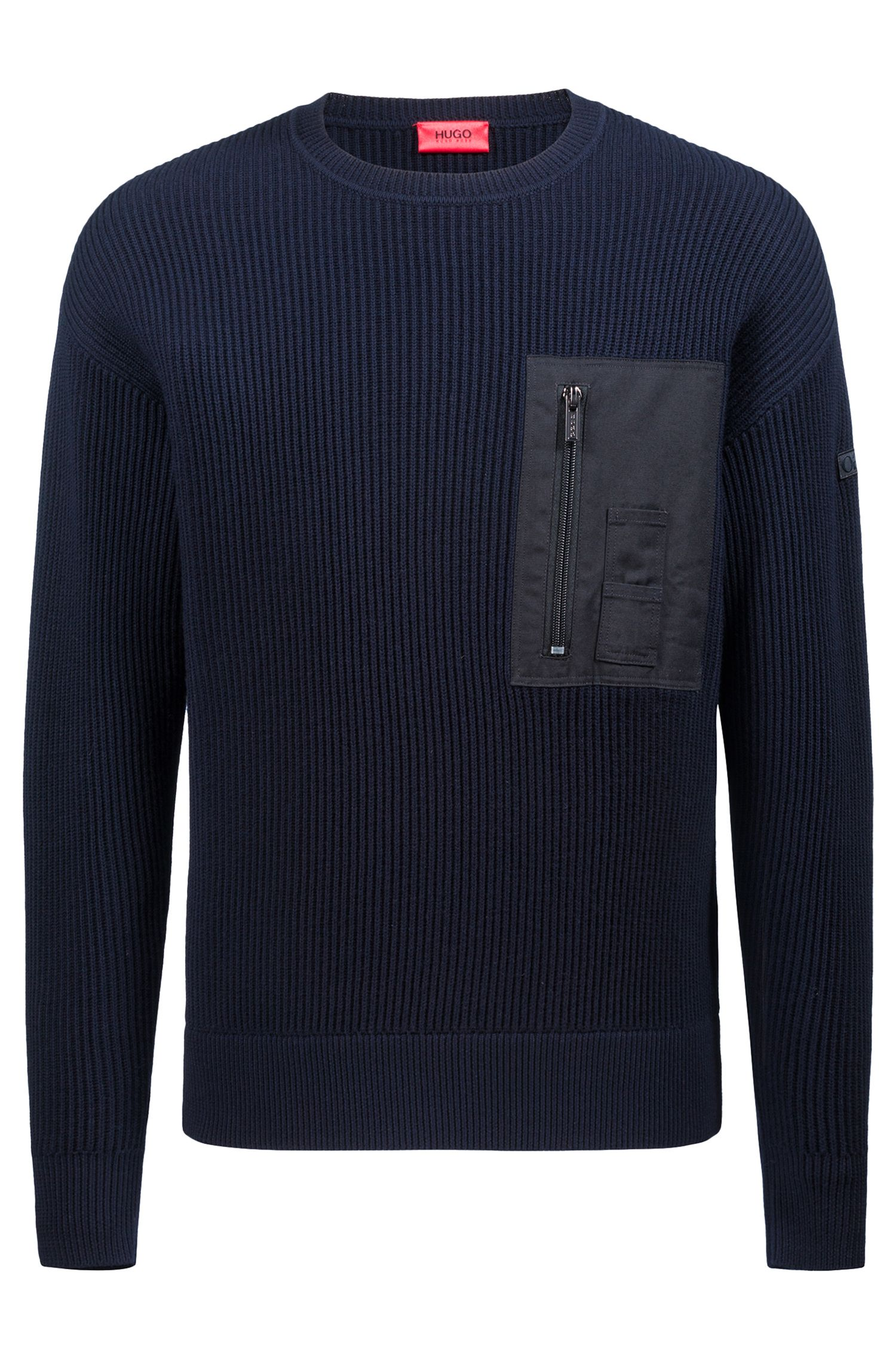 Military-inspired ribbed sweater with patch pocket, Dark Blue