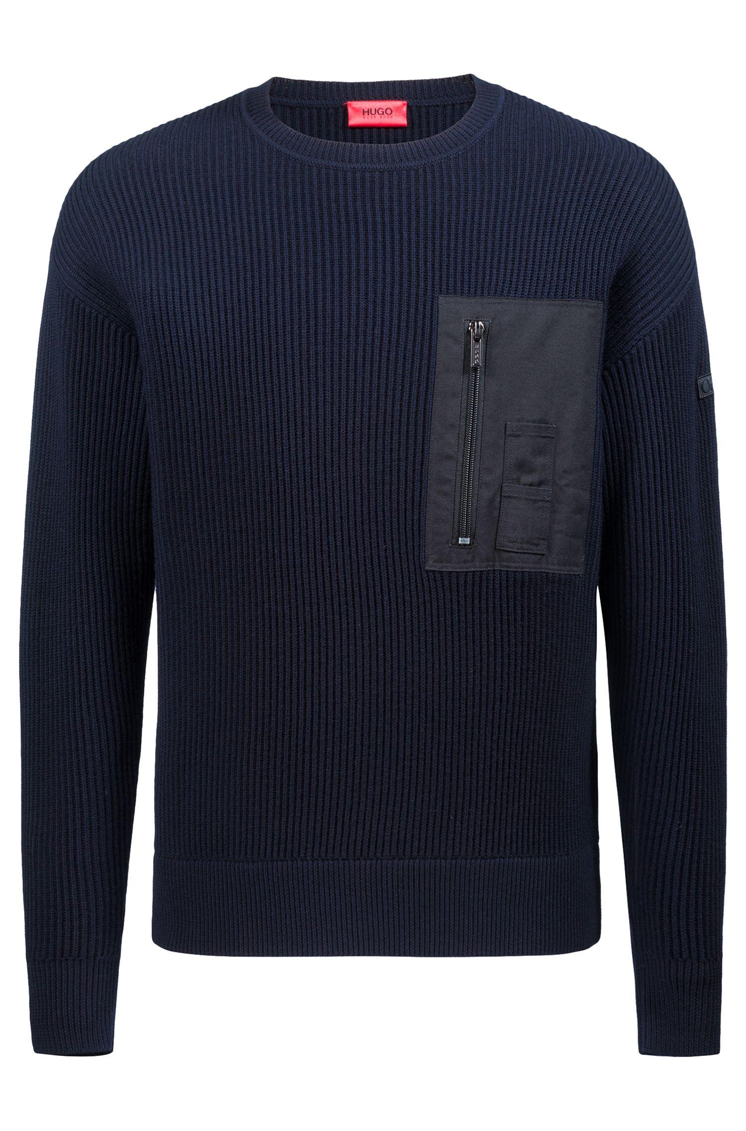 Geribbelde trui in een militaire look met opgezette zak