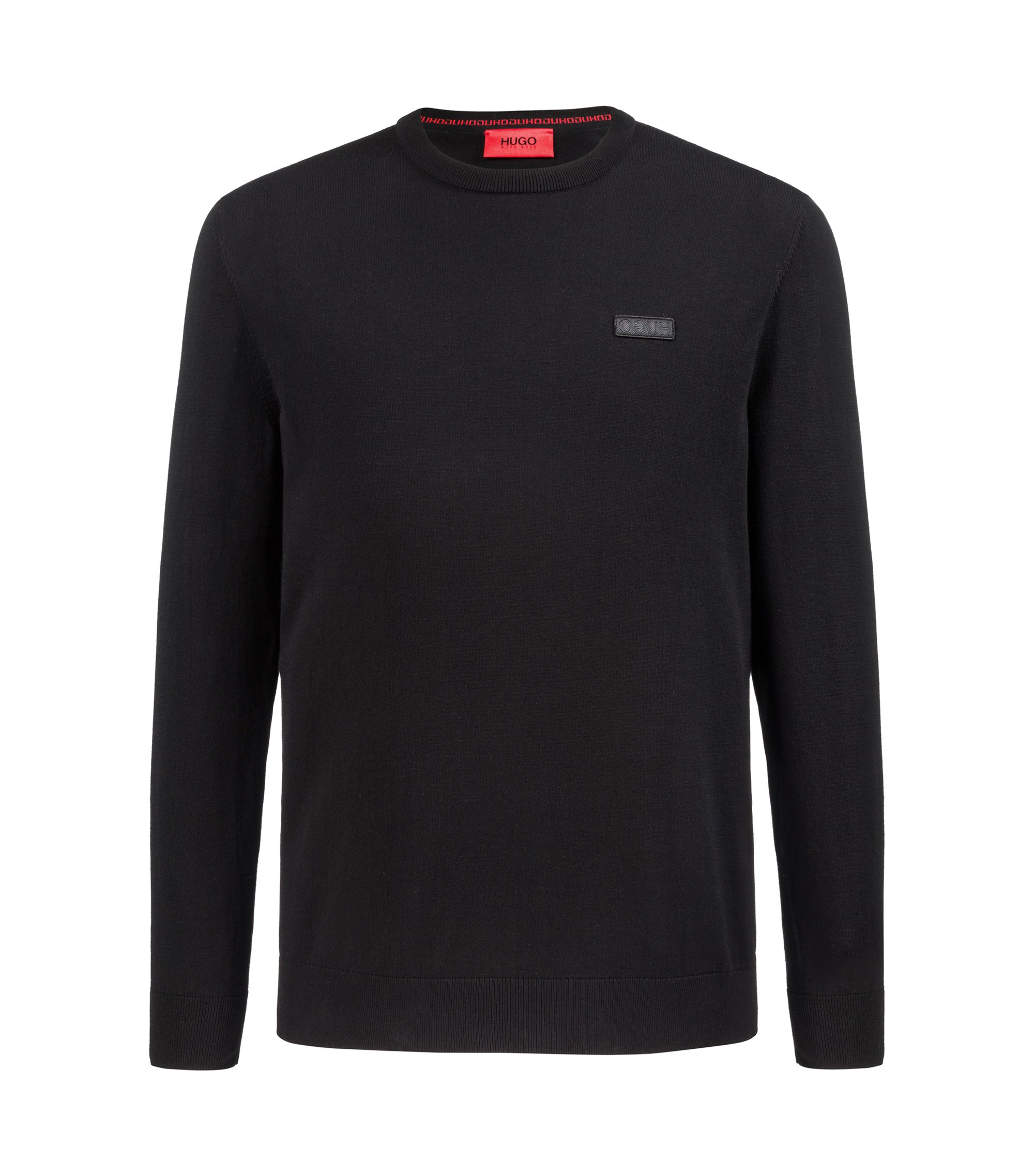 Crew-neck crepe sweater with logo badge, Black