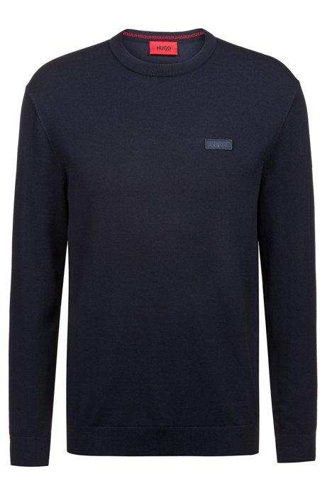 Jersey de cuello redondo en crepé con logo, Azul oscuro