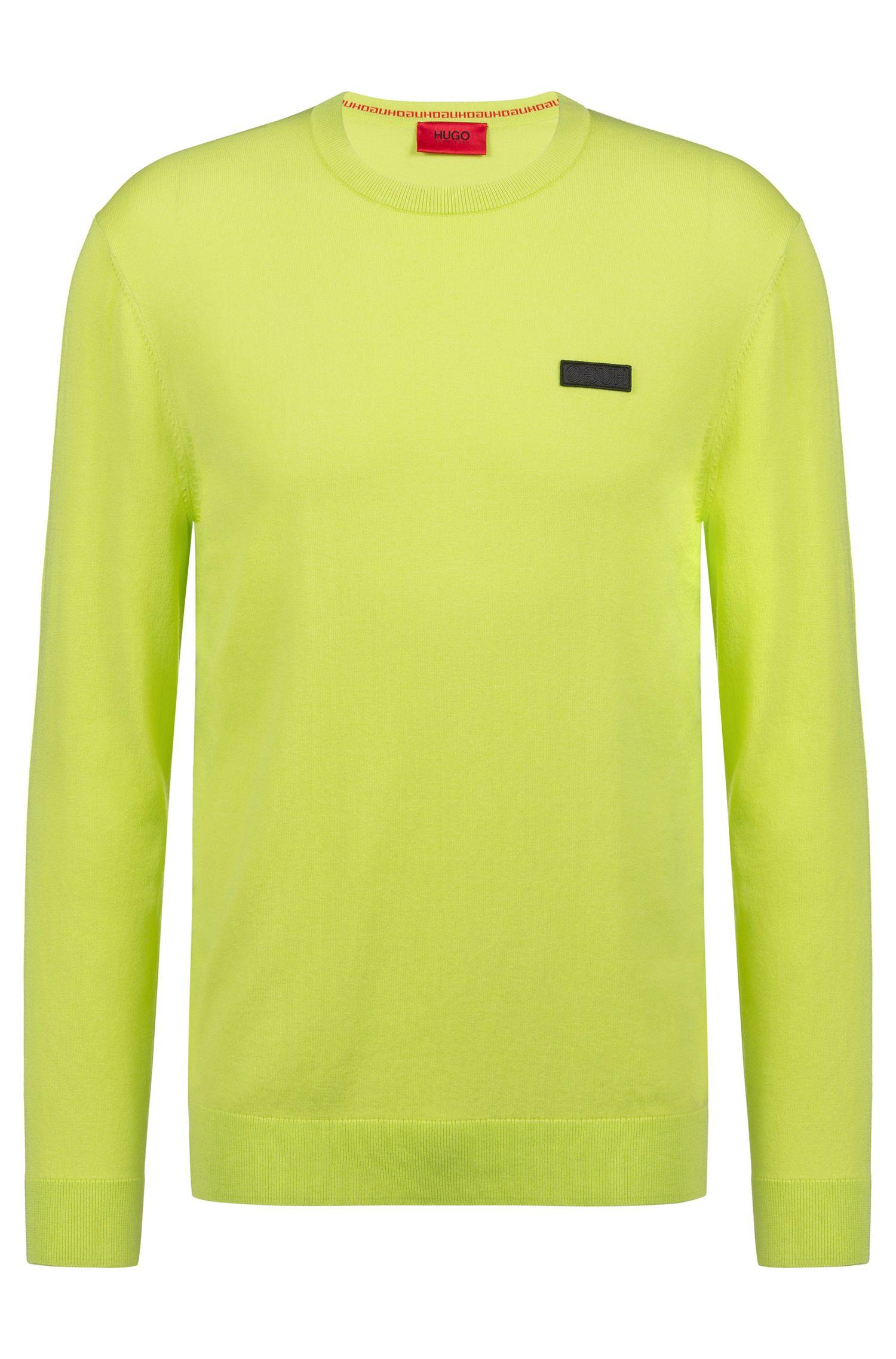 Jersey de cuello redondo en crepé con logo, Amarillo