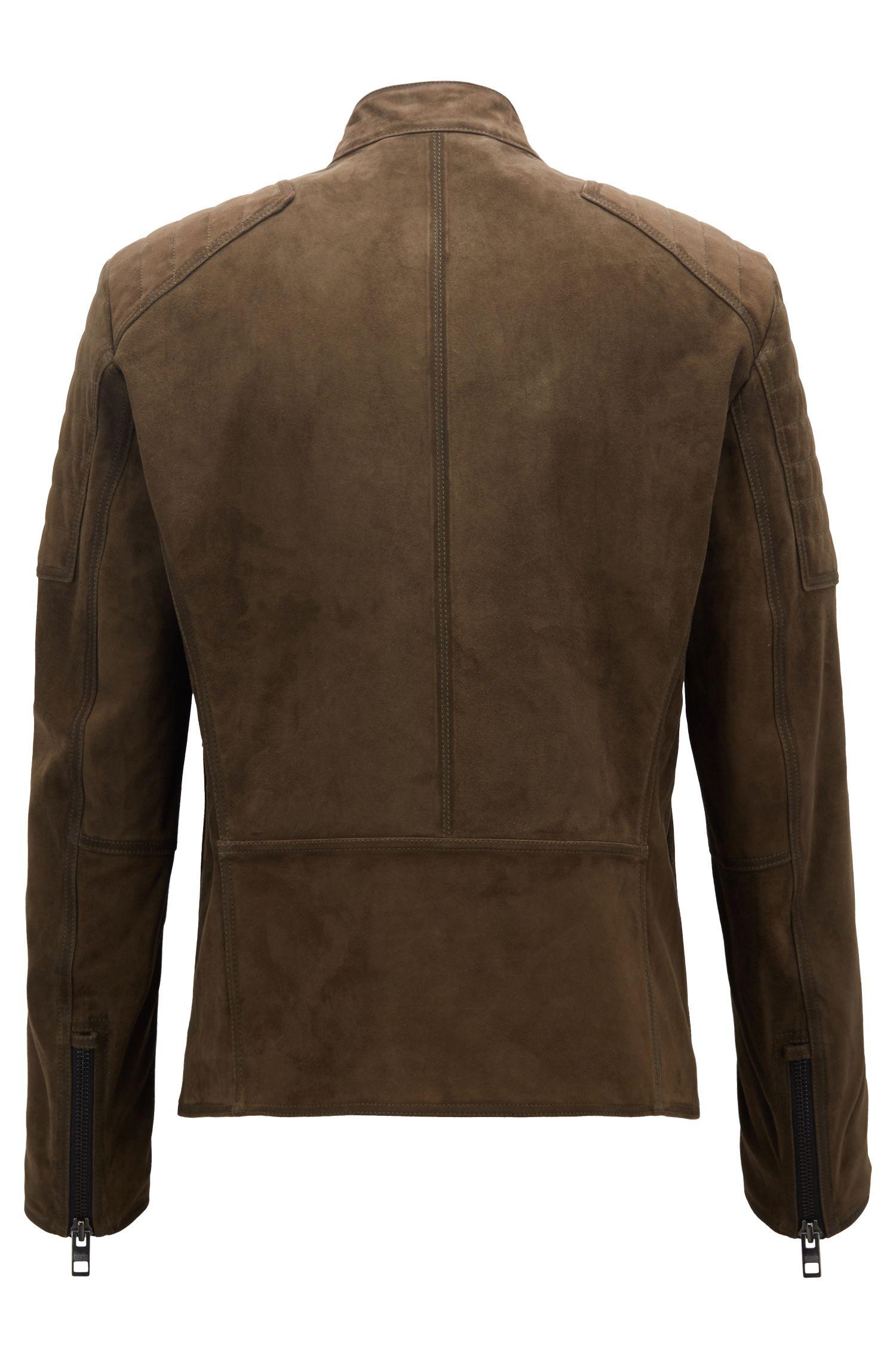 Slim-Fit Bikerjacke aus handbearbeitetem Veloursleder, Braun