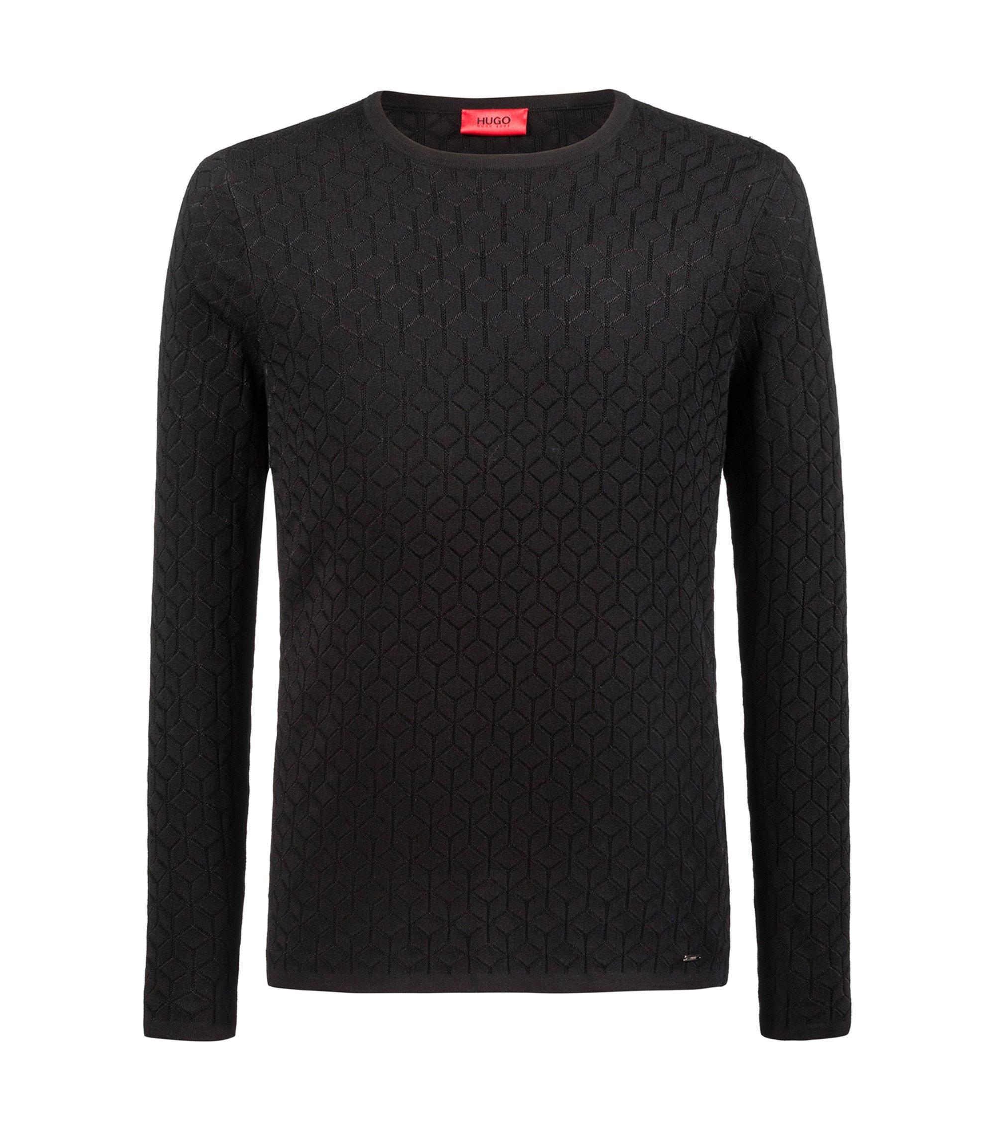 Maglione slim fit in maglia jacquard con motivo geometrico, Nero