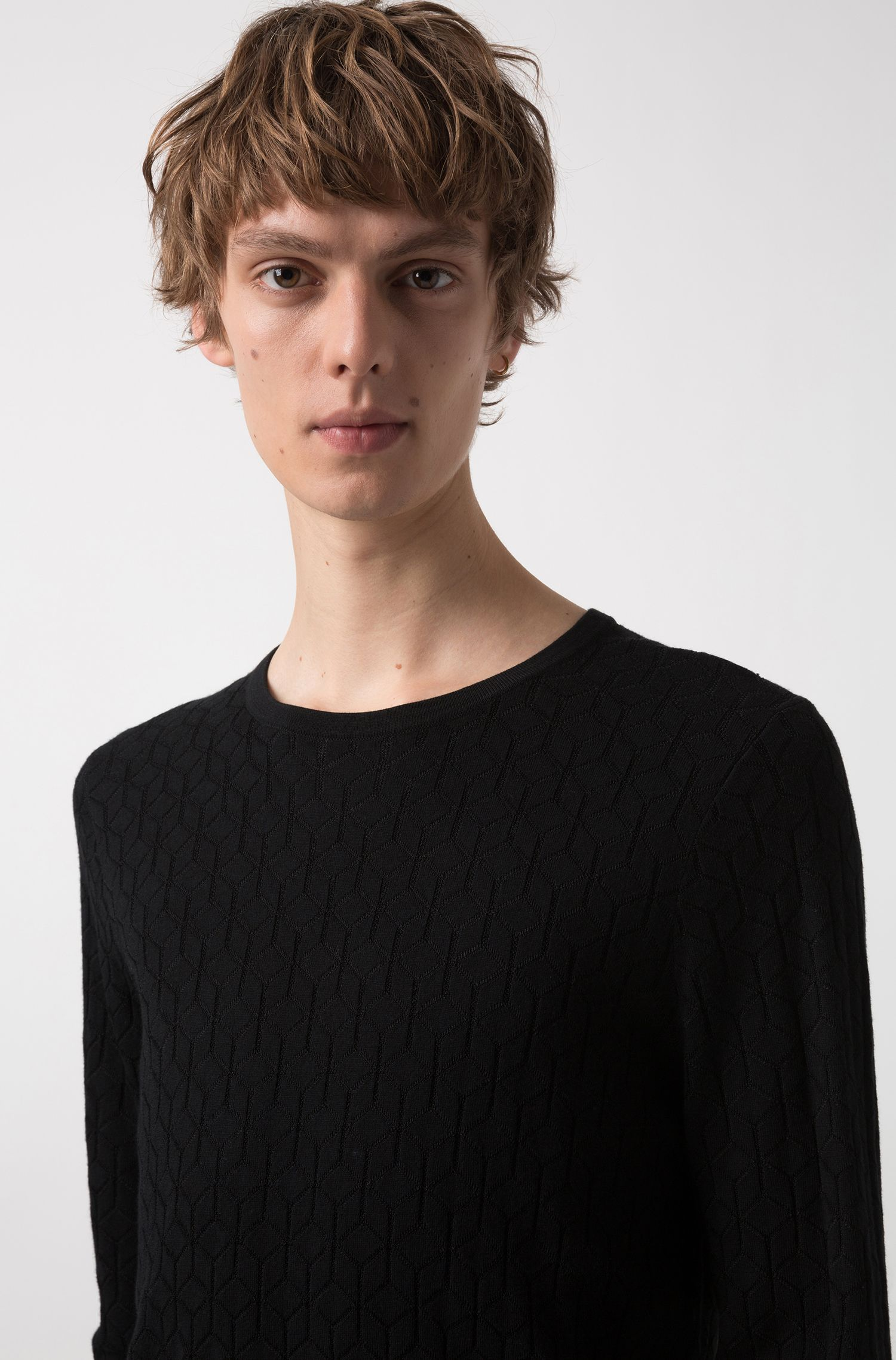 Slim-fit sweater in knitted jacquard with geometric pattern