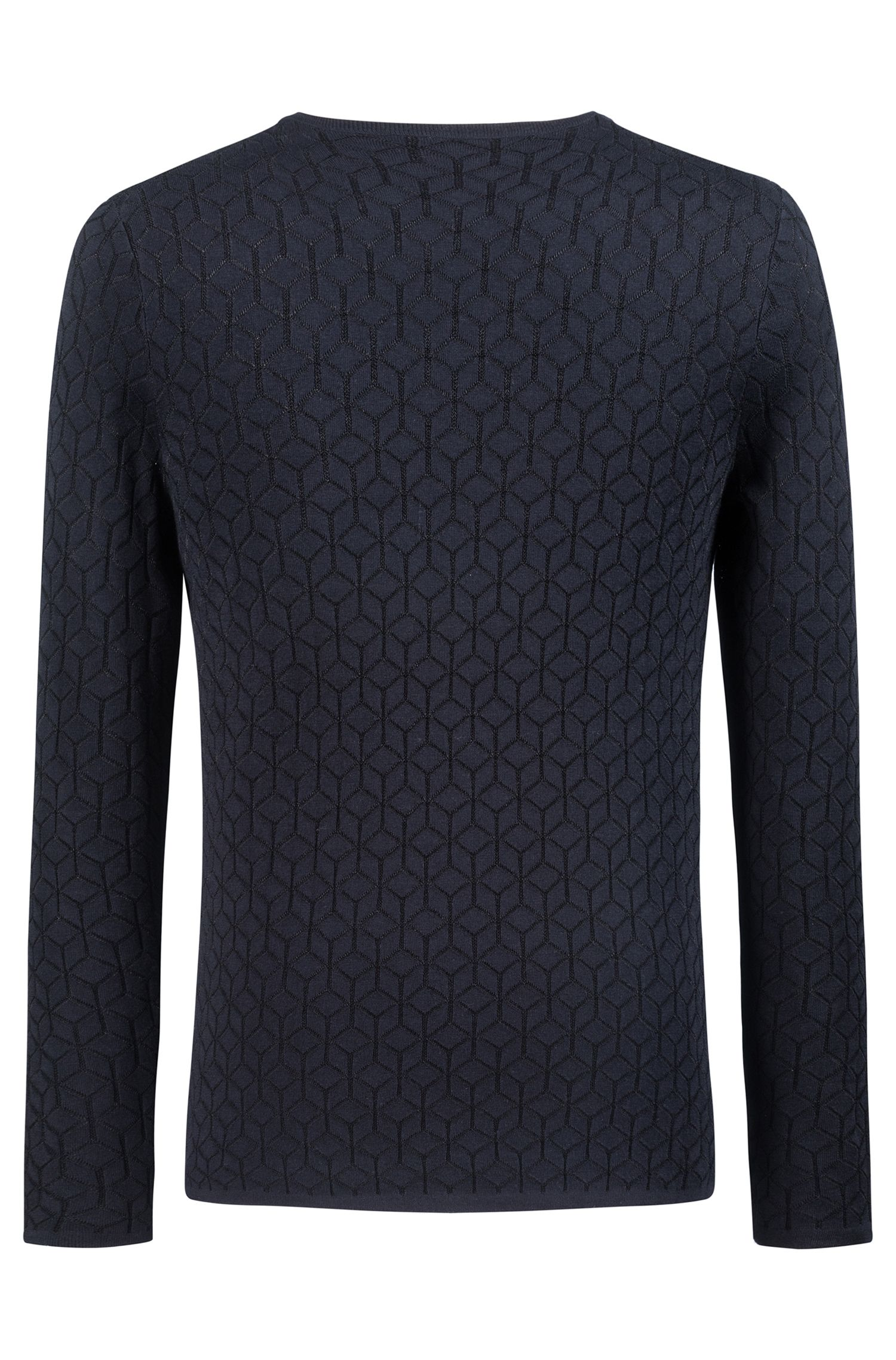 Slim-fit sweater in knitted jacquard with geometric pattern, Dark Blue