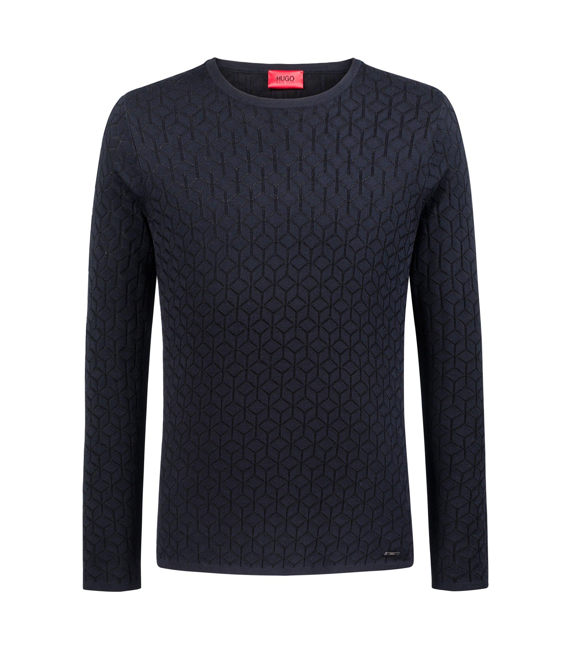Maglione slim fit in maglia jacquard con motivo geometrico, Blu scuro