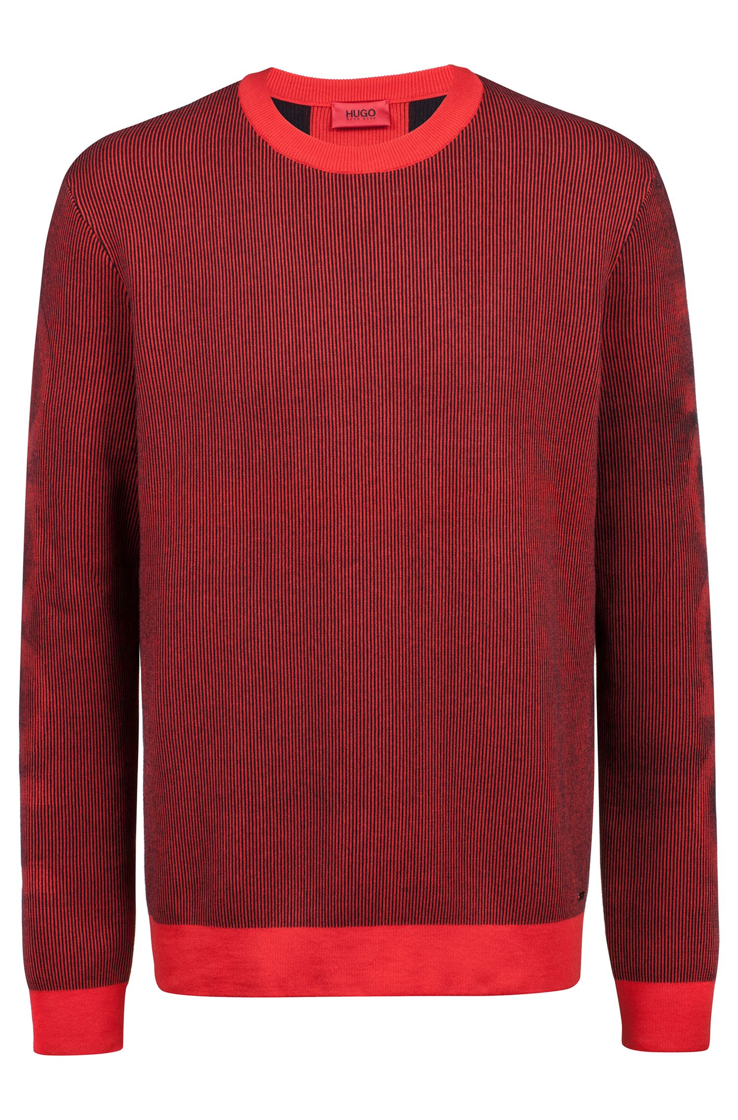 Relaxed-fit sweater in ribbed cotton jacquard