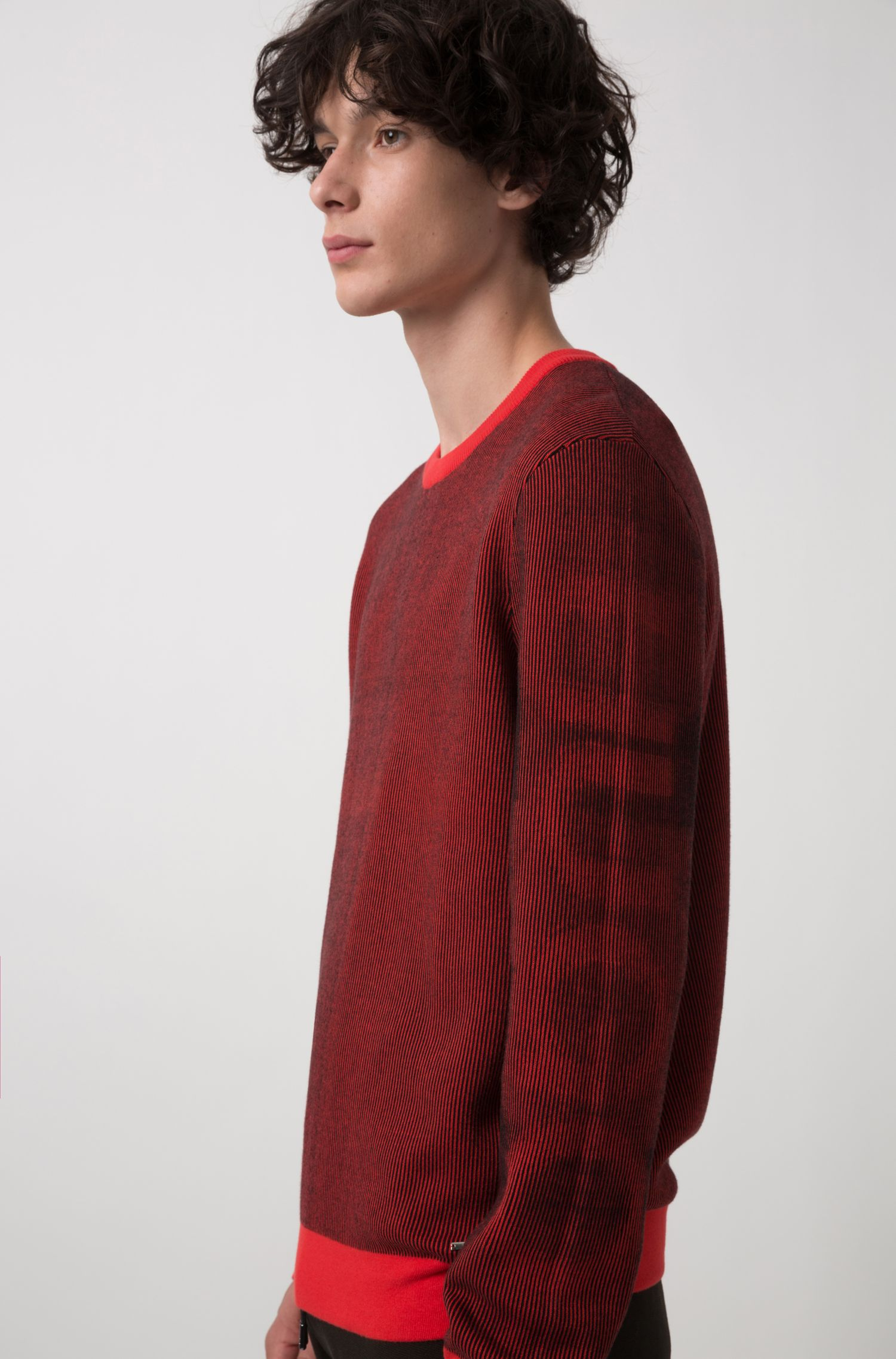 Relaxed-fit sweater in ribbed cotton jacquard, Red