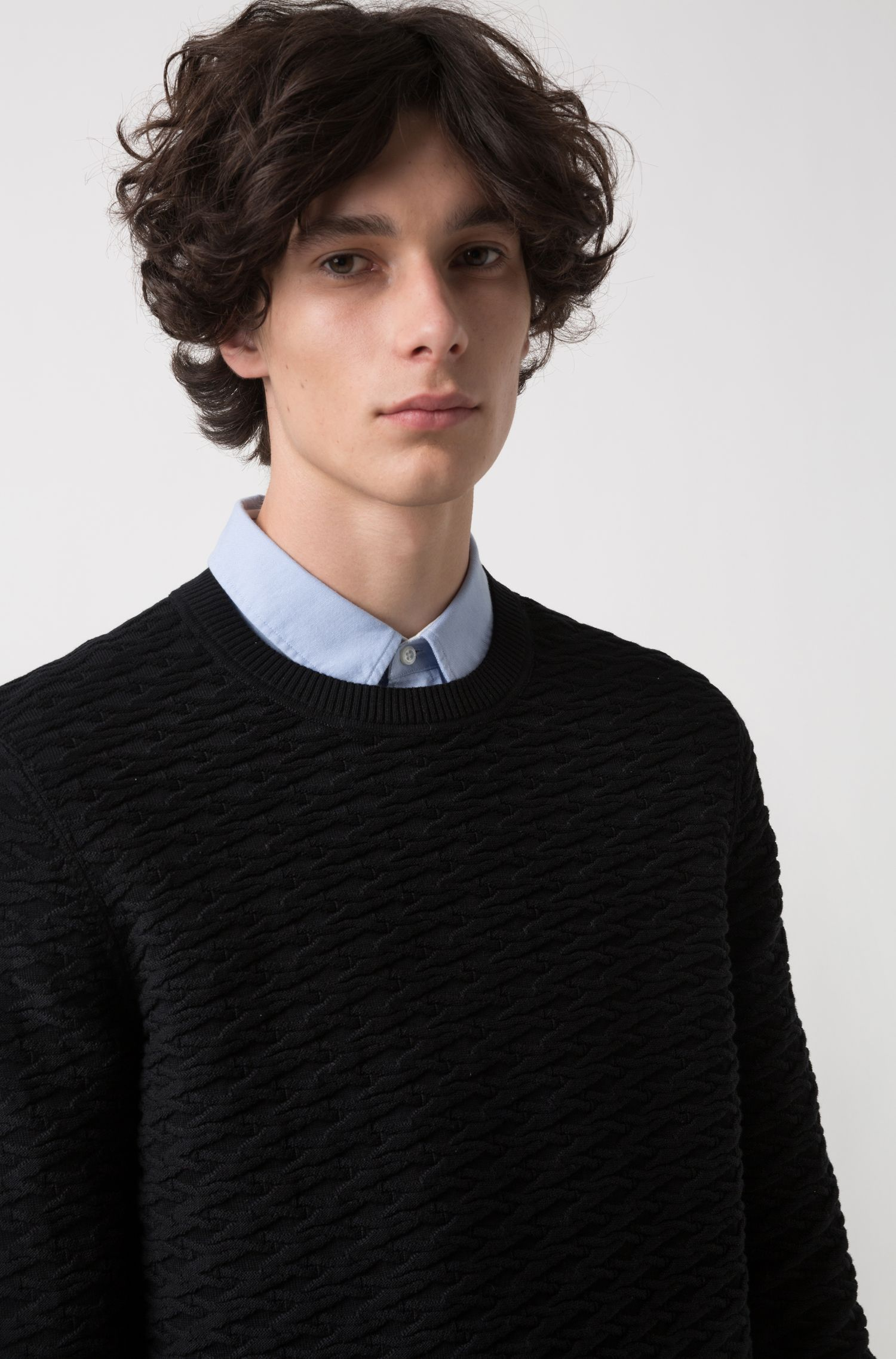 Knitted sweater in cotton jacquard, Black