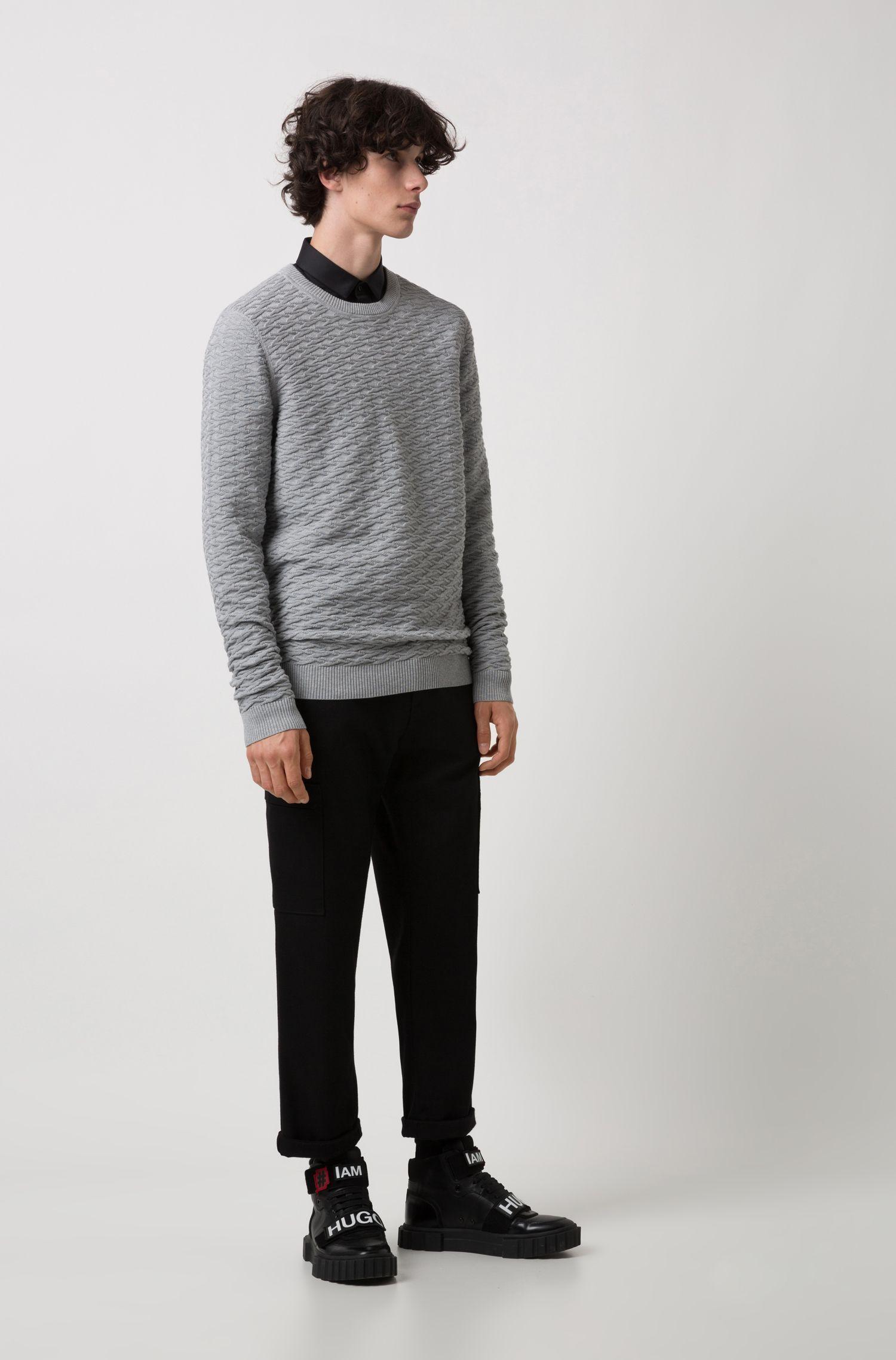 Strickpullover aus Baumwoll-Jacquard, Grau