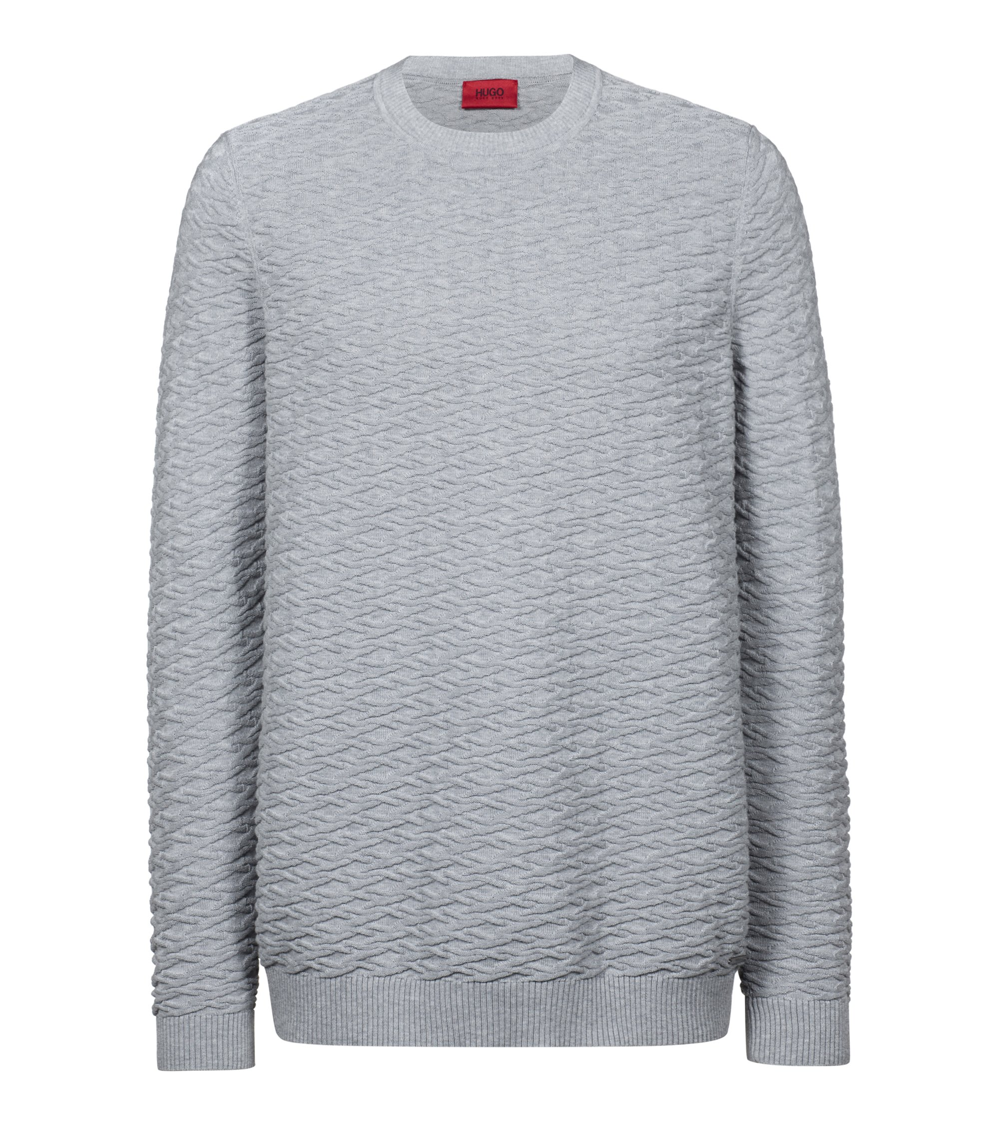 Knitted sweater in cotton jacquard, Grey
