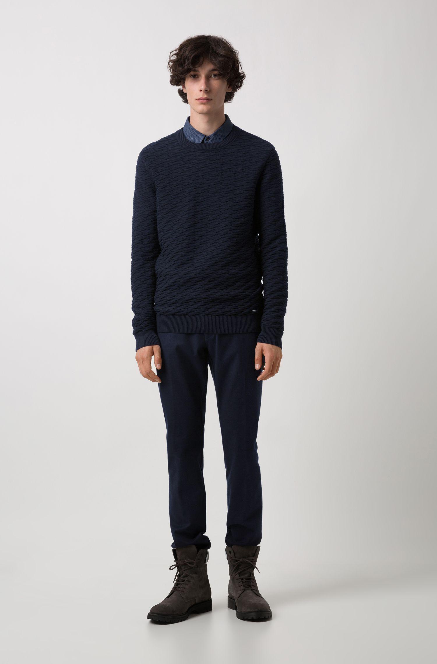 Maglione in cotone jacquard, Blu scuro