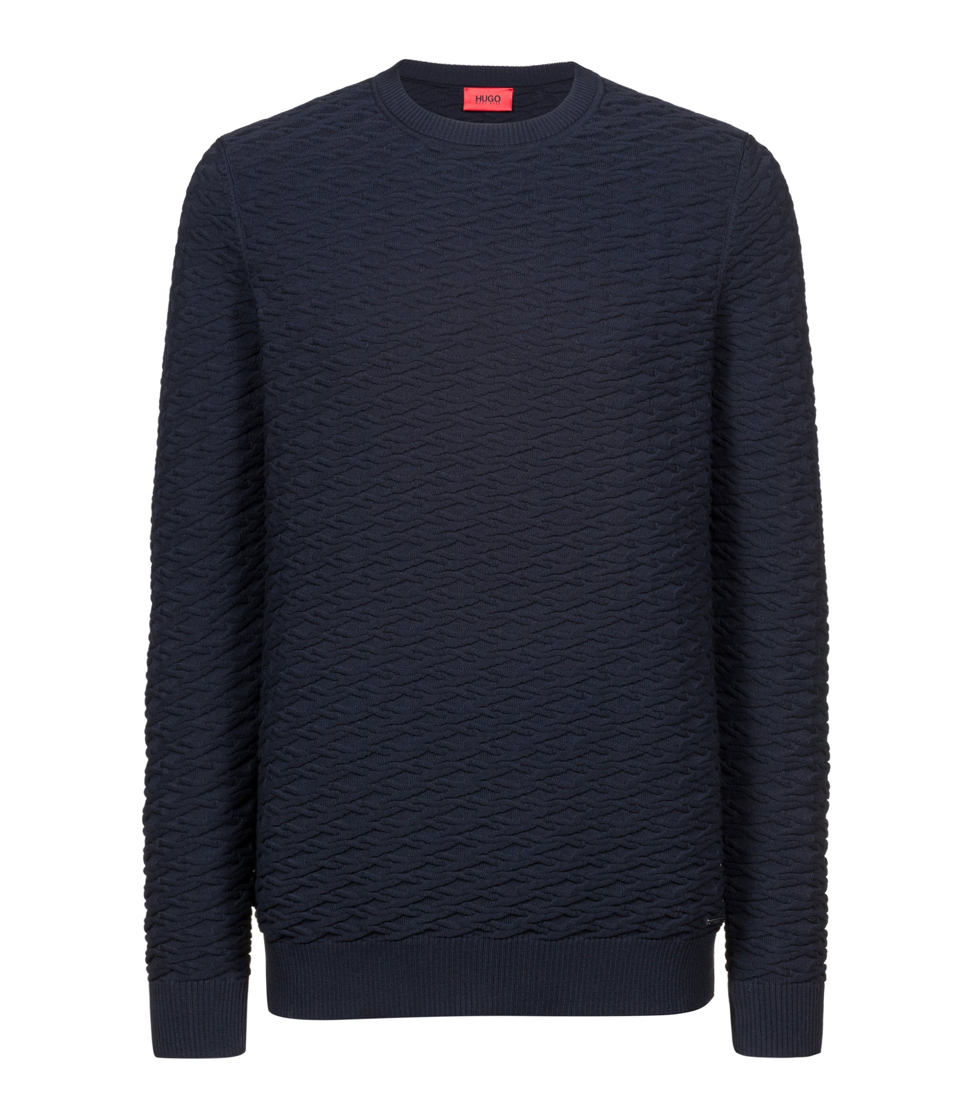 Knitted sweater in cotton jacquard, Dark Blue