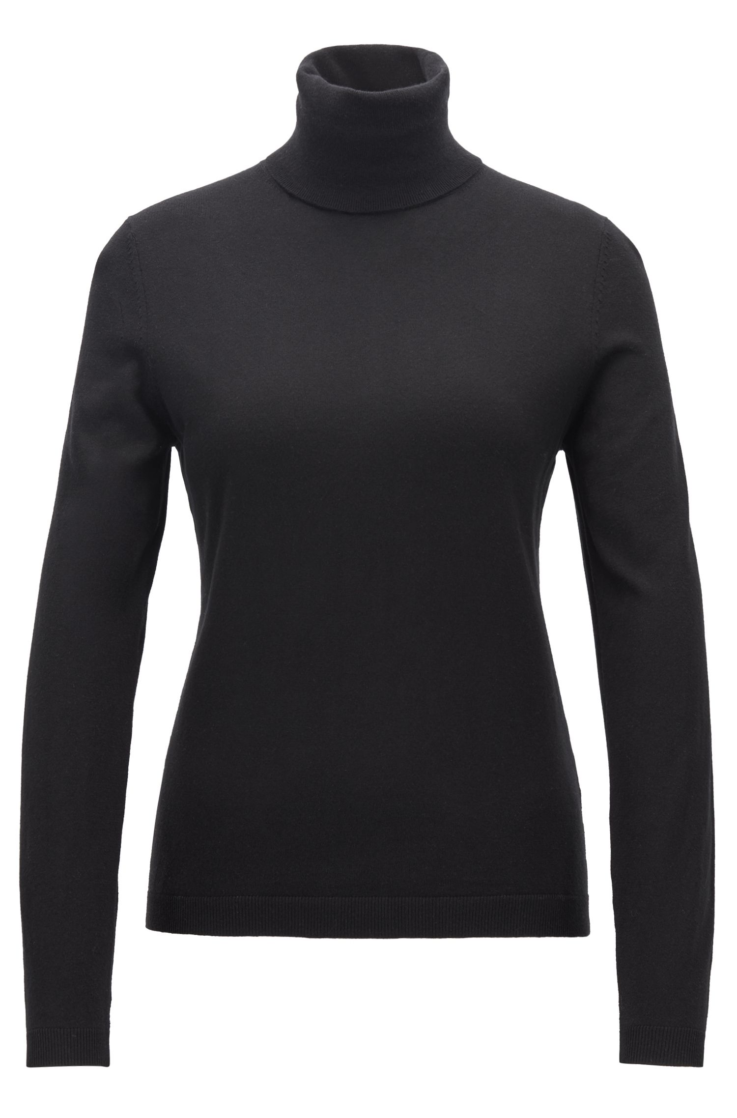 Roll-neck sweater in a cotton blend with cashmere, Black