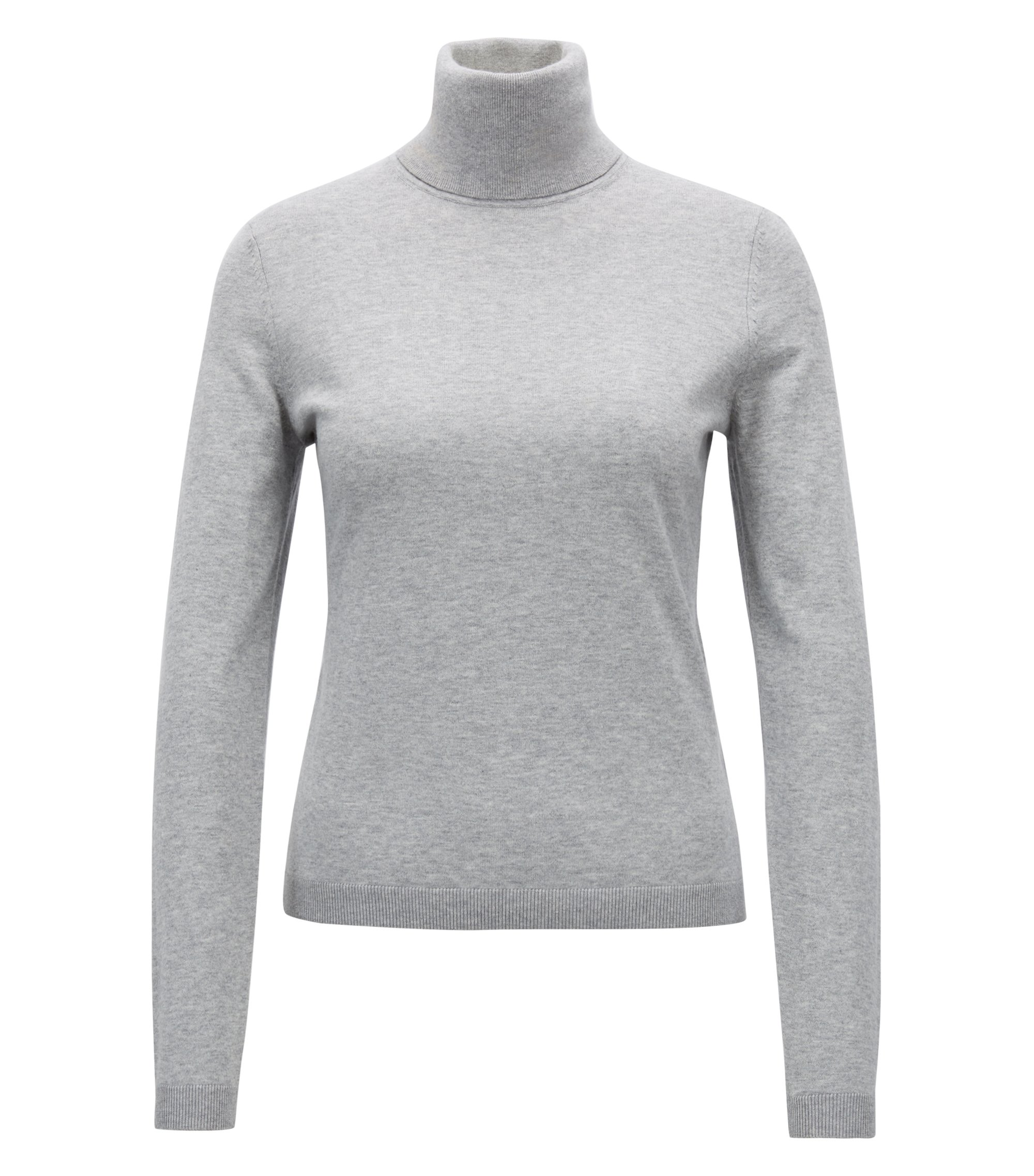 Roll-neck sweater in a cotton blend with cashmere, Silver