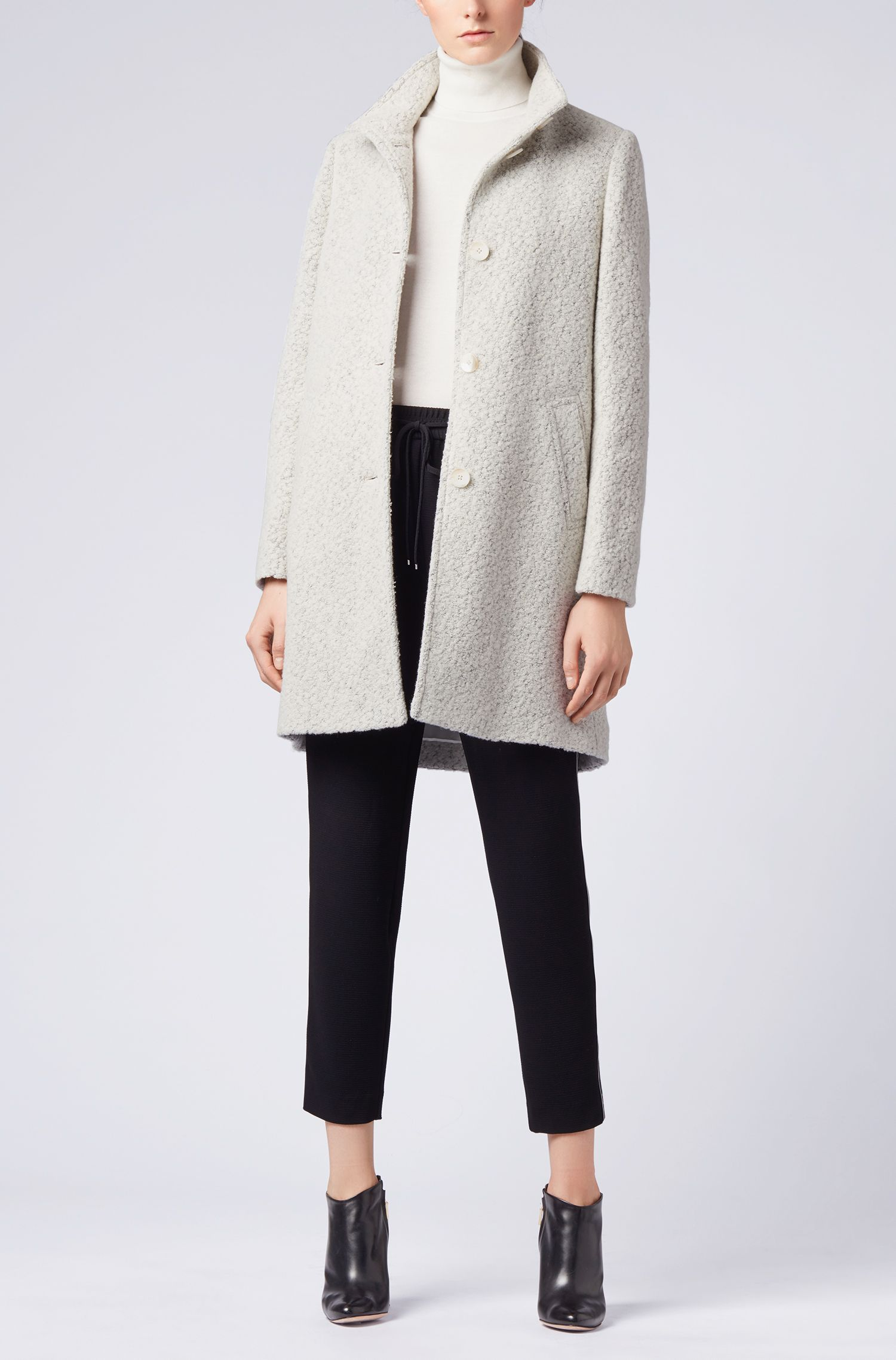 Roll-neck sweater in a cotton blend with cashmere, Natural