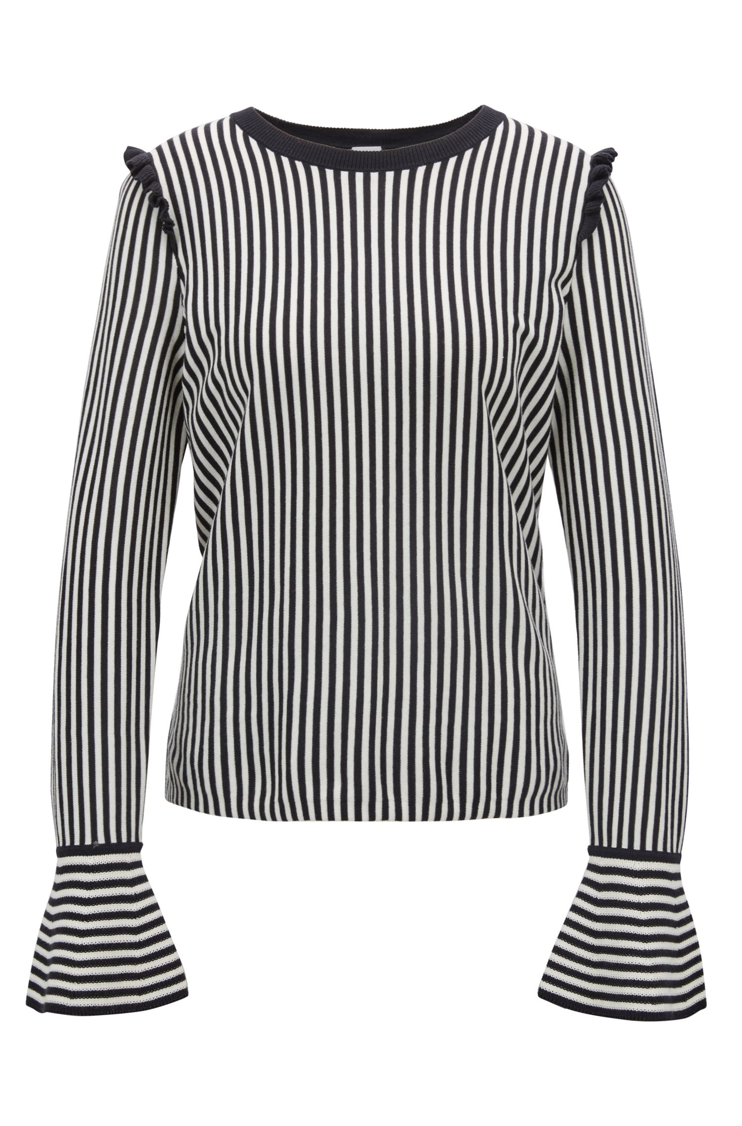 Striped sweater in a cotton-silk blend with ruching, Dark Blue