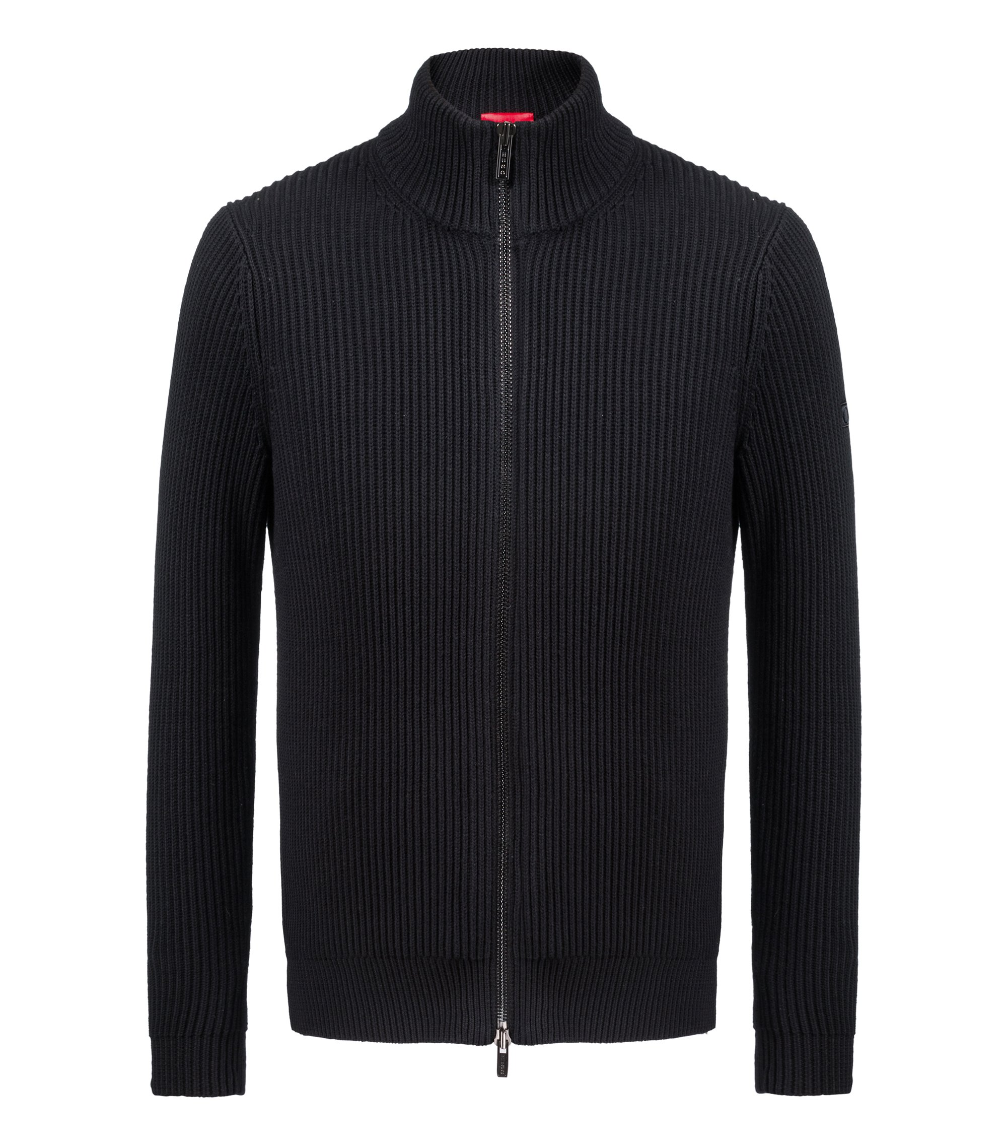 Zip-through knitted jacket in a wool-cotton blend, Black