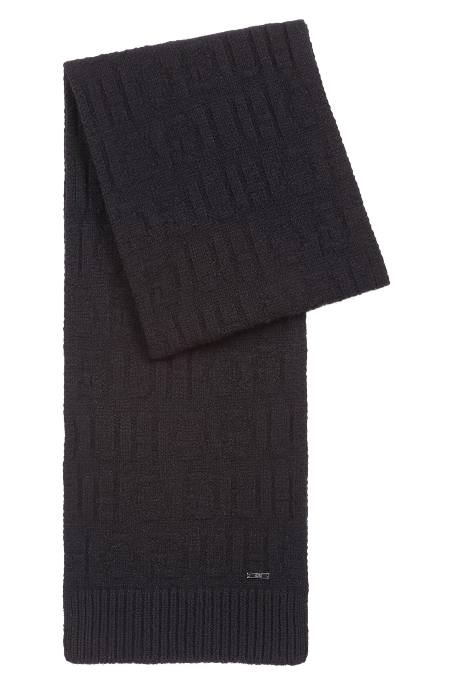 Set de regalo con gorro de punto y bufanda con logo invertido, Negro