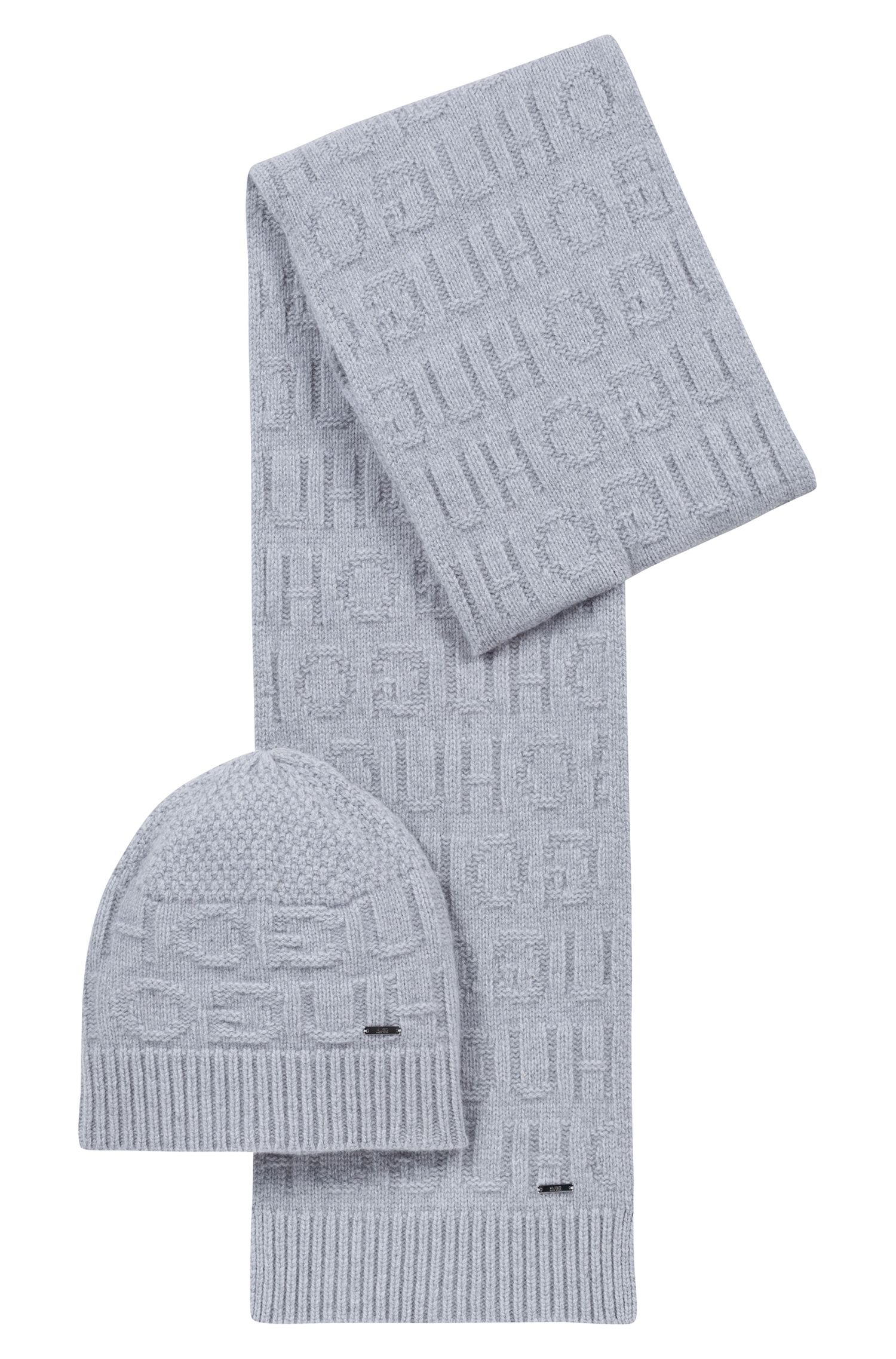 Reverse-logo beanie hat and scarf gift set, Grey