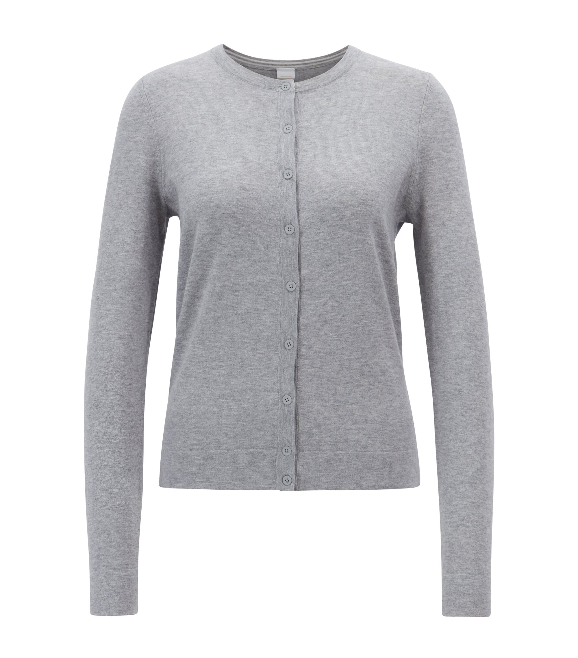 Cotton-blend crew-neck cardigan with cashmere and silk, Silver