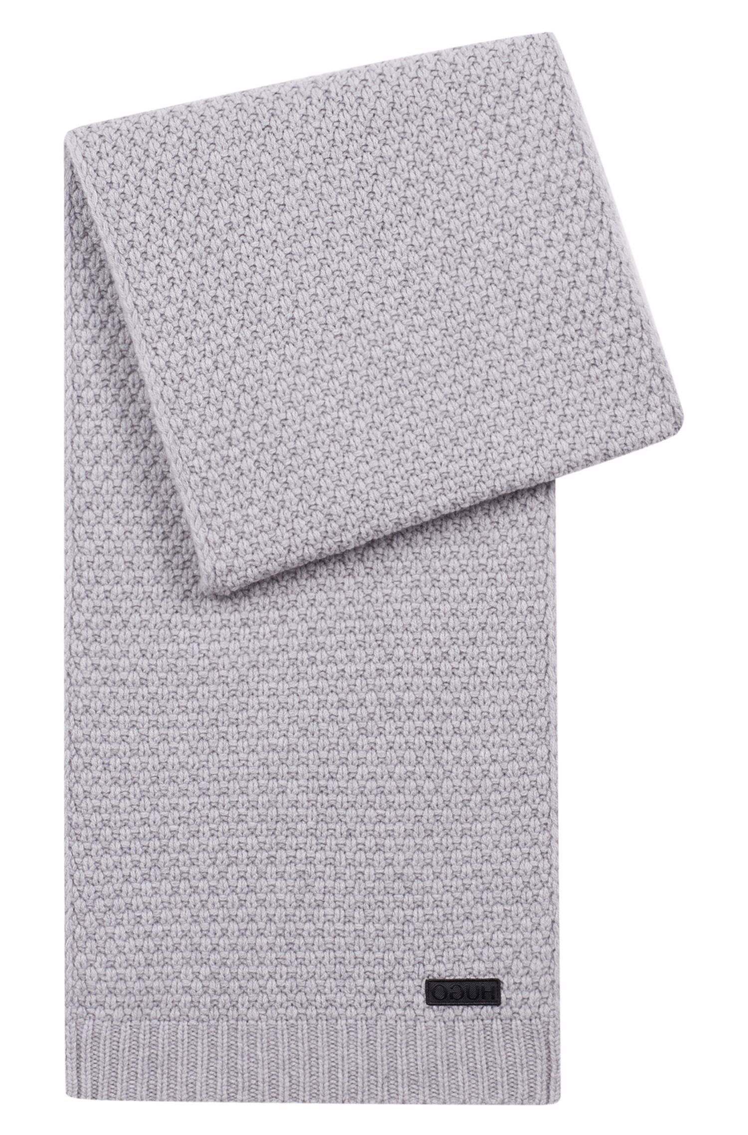 Virgin-wool scarf with jacquard-knit structure, Grey
