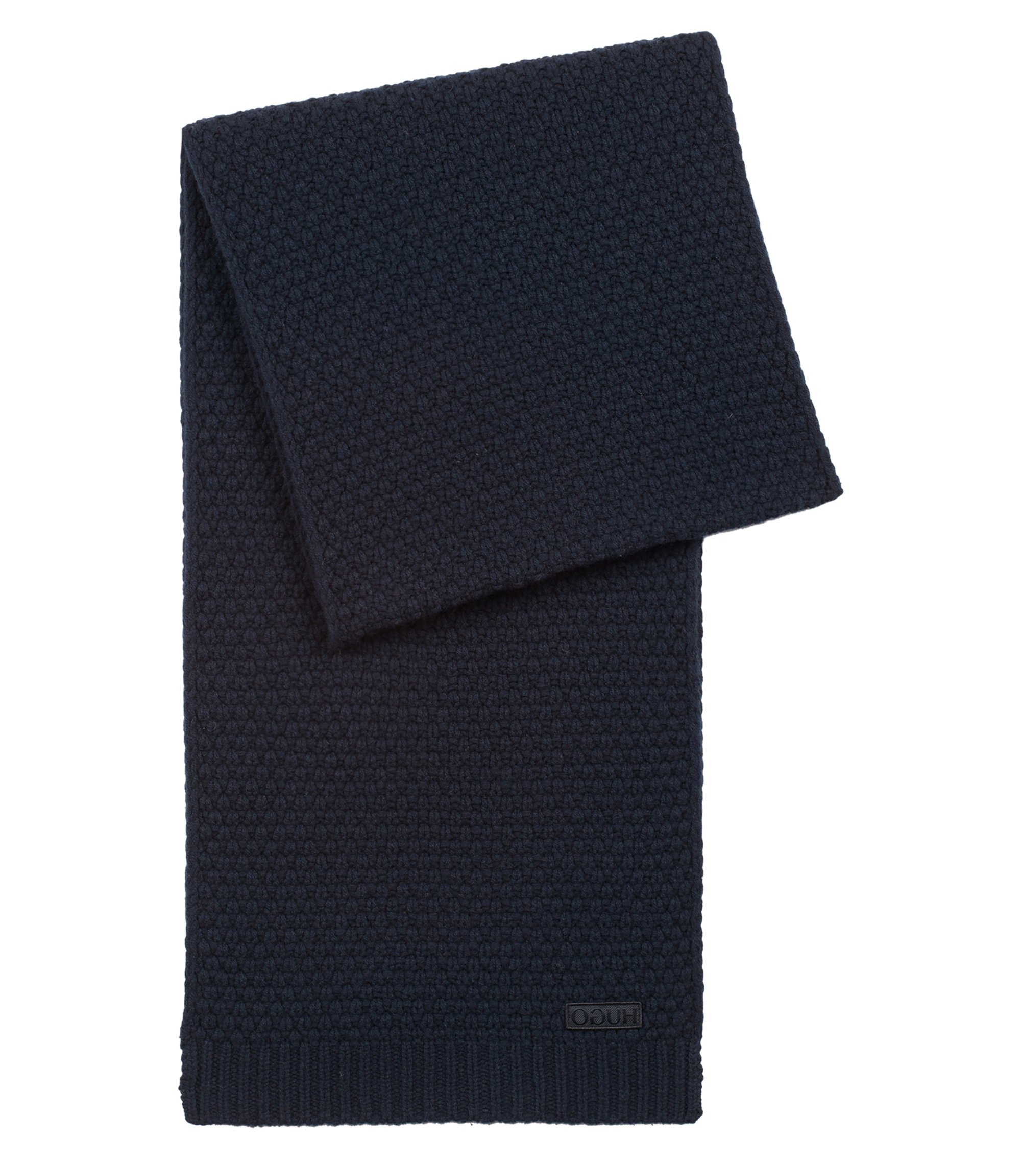 Virgin-wool scarf with jacquard-knit structure, Dark Blue