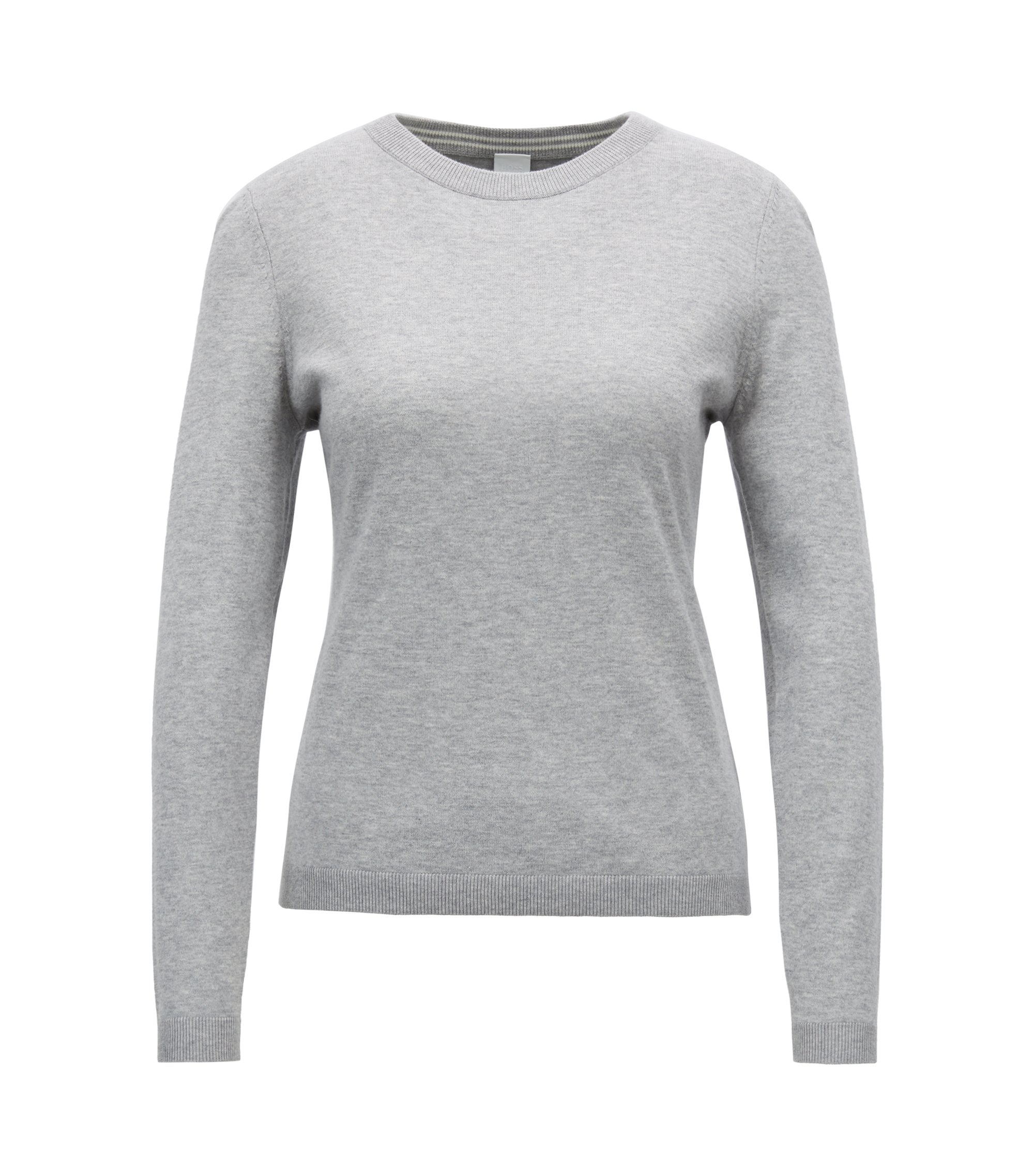 Slim-fit sweater in a premium cotton blend, Silver
